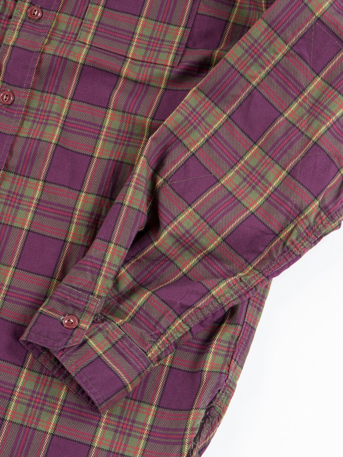 Purple/Green Cotton Printed Plaid Work Shirt - Image 5
