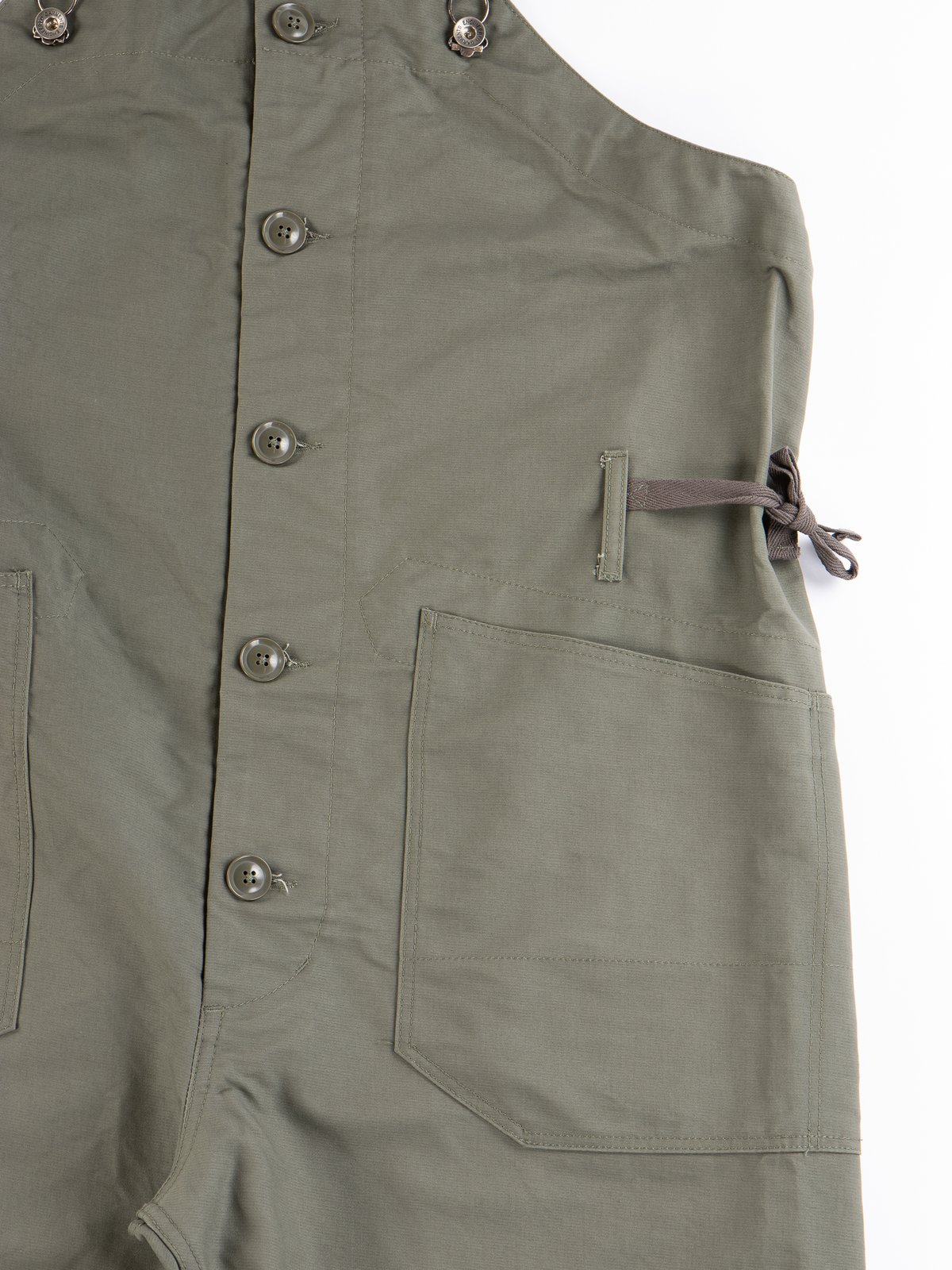 Olive Cotton Double Cloth Overalls - Image 3
