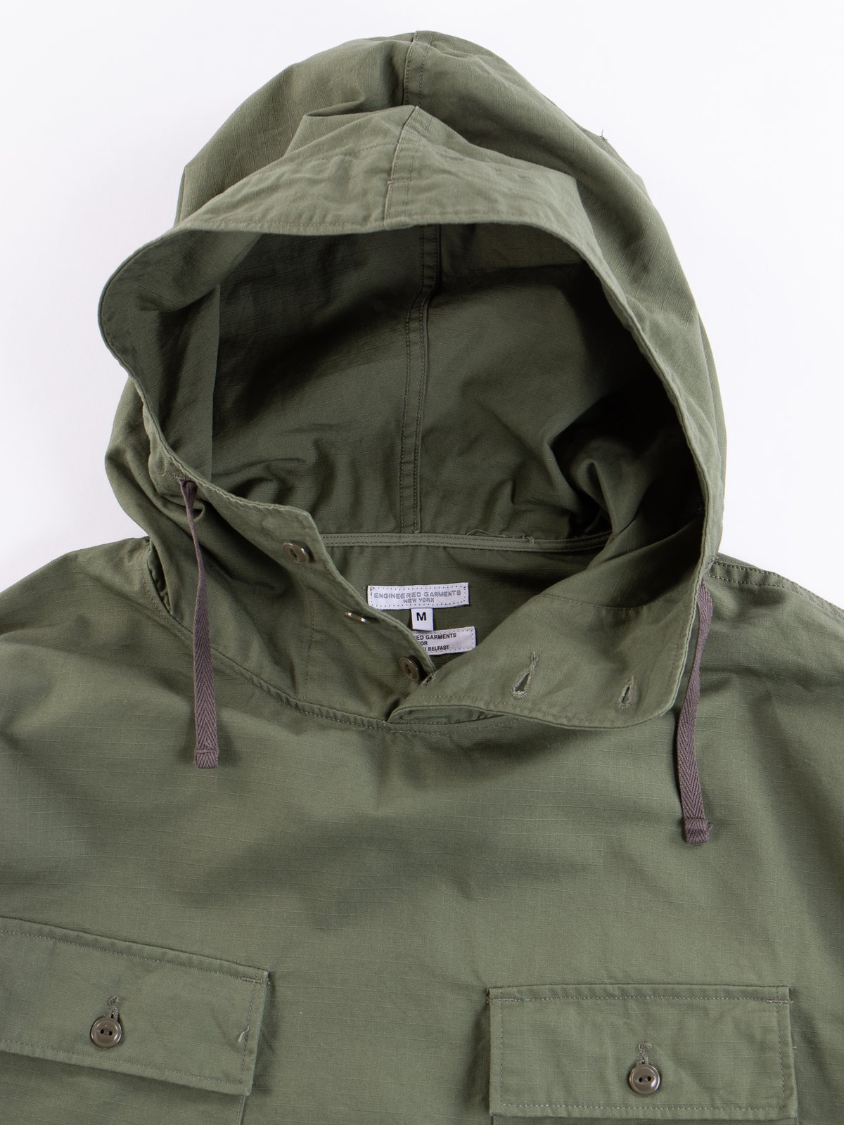 Olive Cotton Ripstop Cagoule Shirt - Image 6