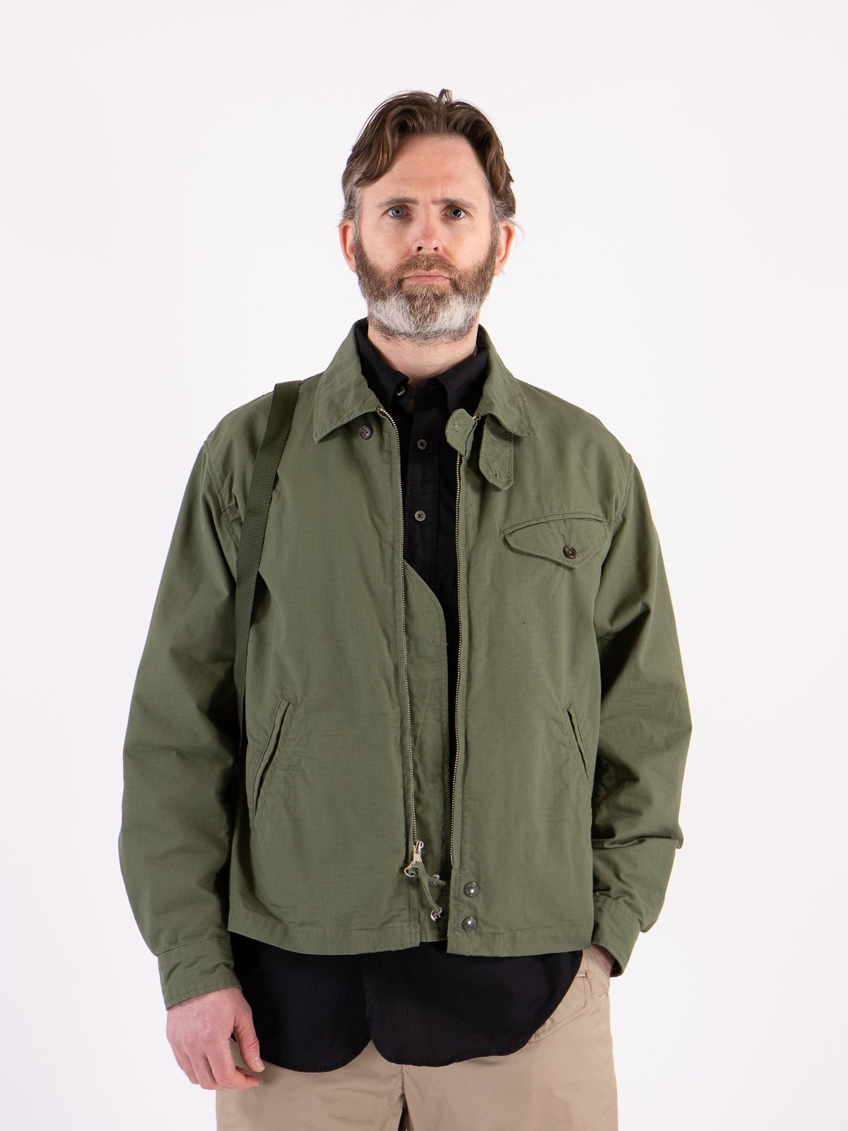 Olive Cotton Ripstop Driver Jacket - Image 2