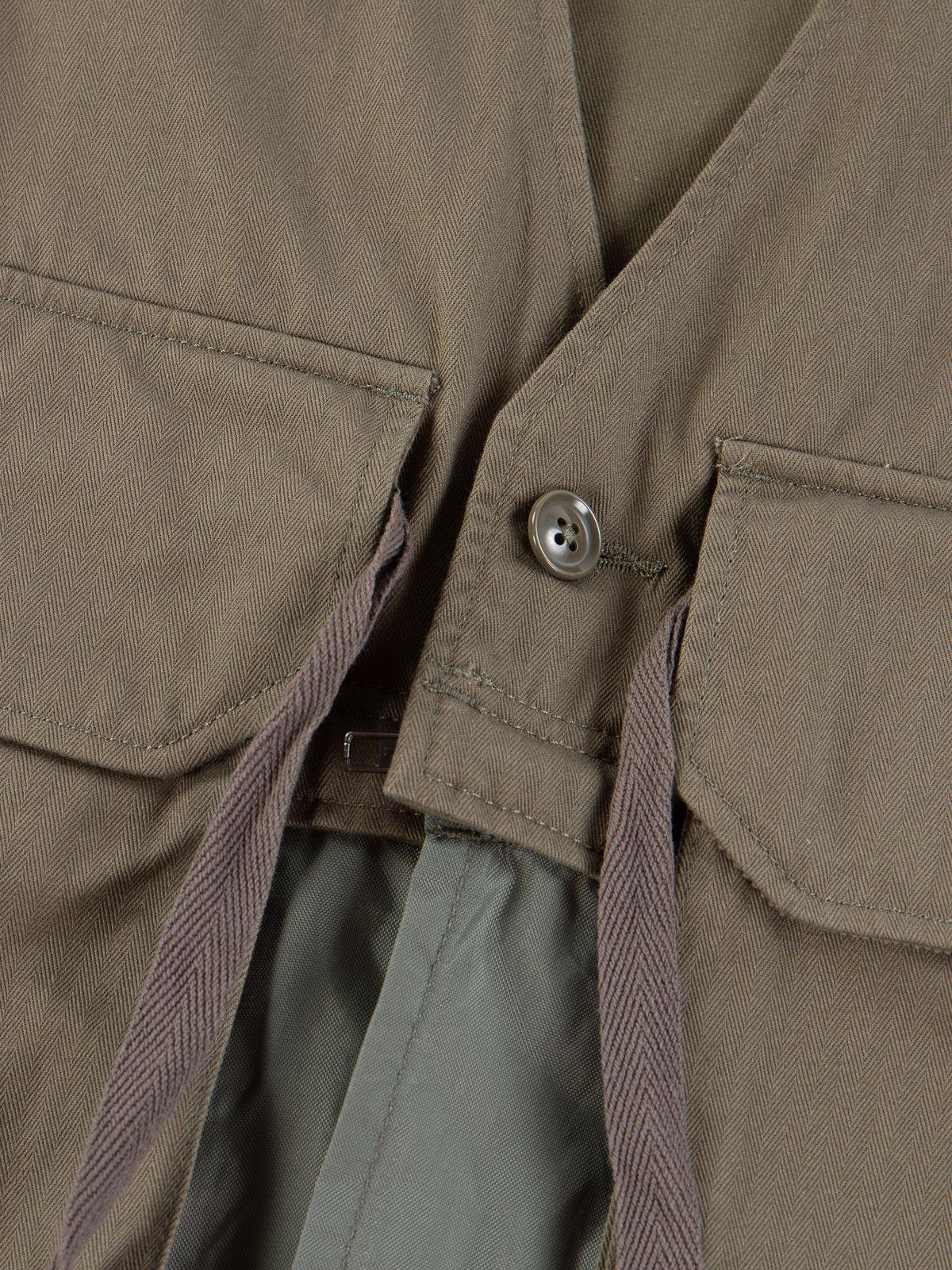 Olive Cotton Herringbone Twill Long Fowl Vest - Image 5