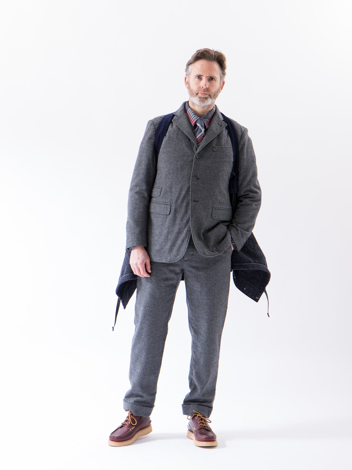 Grey Wool Glen Plaid Stripe Andover Pant - Image 2