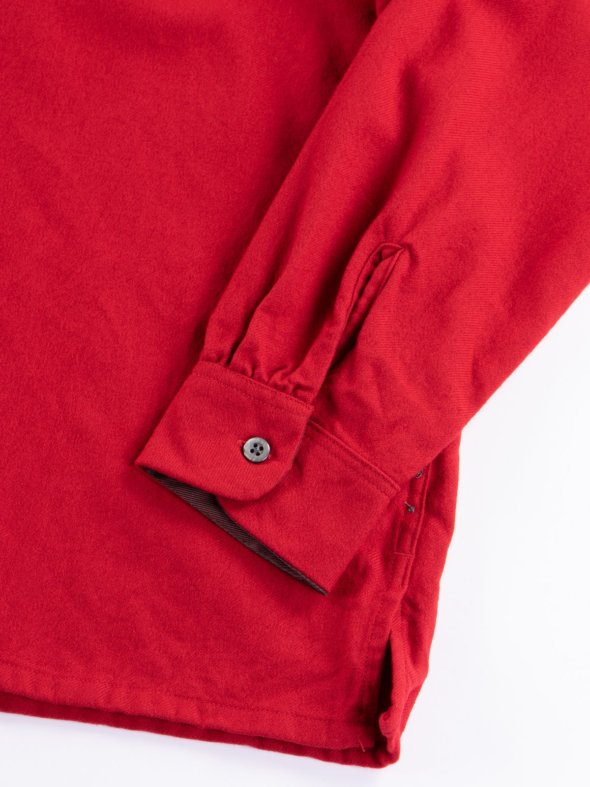 Red Worsted Wool Flannel Classic Shirt - Image 4