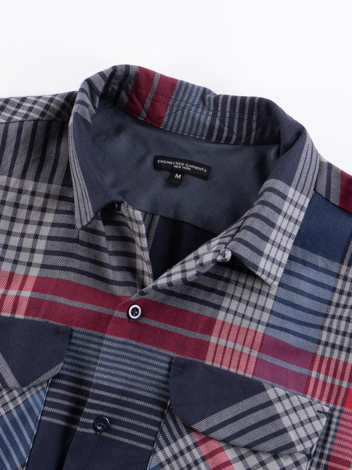 Navy/Grey/Red Cotton Twill Classic Shirt - Image 7