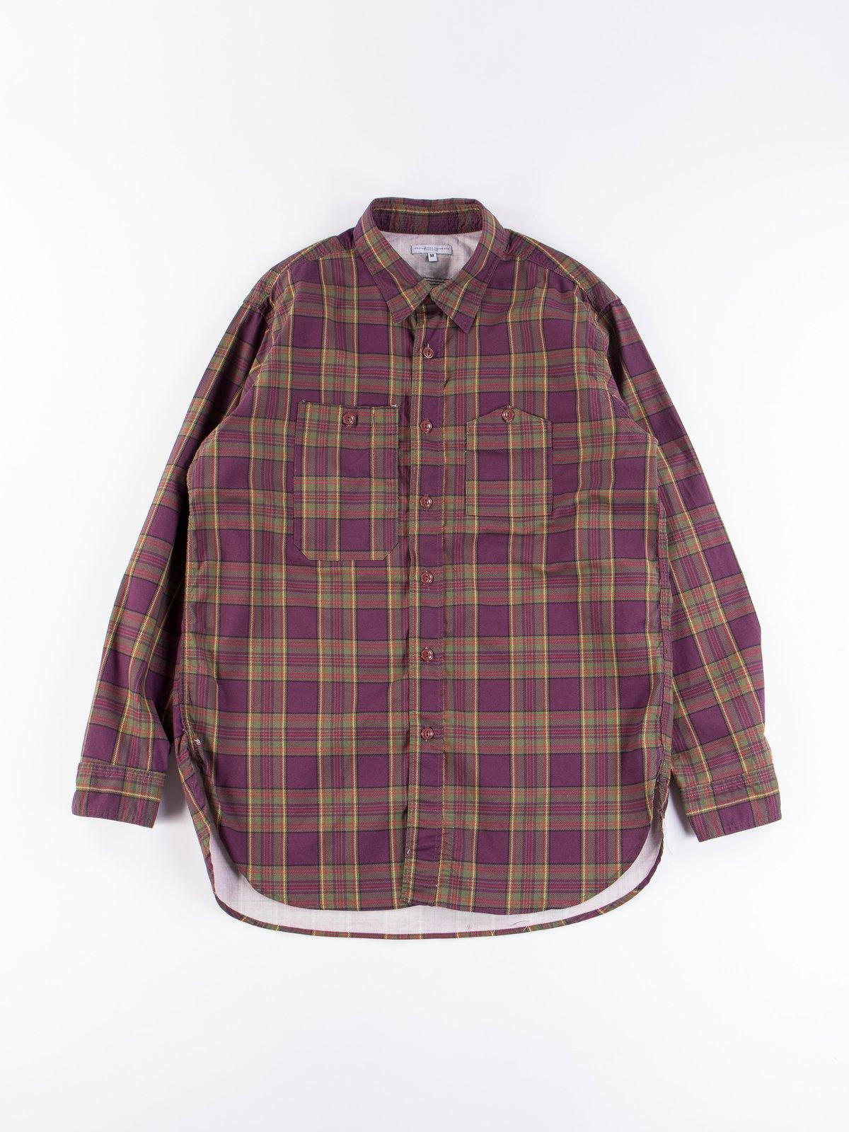 Purple/Green Cotton Printed Plaid Work Shirt - Image 1