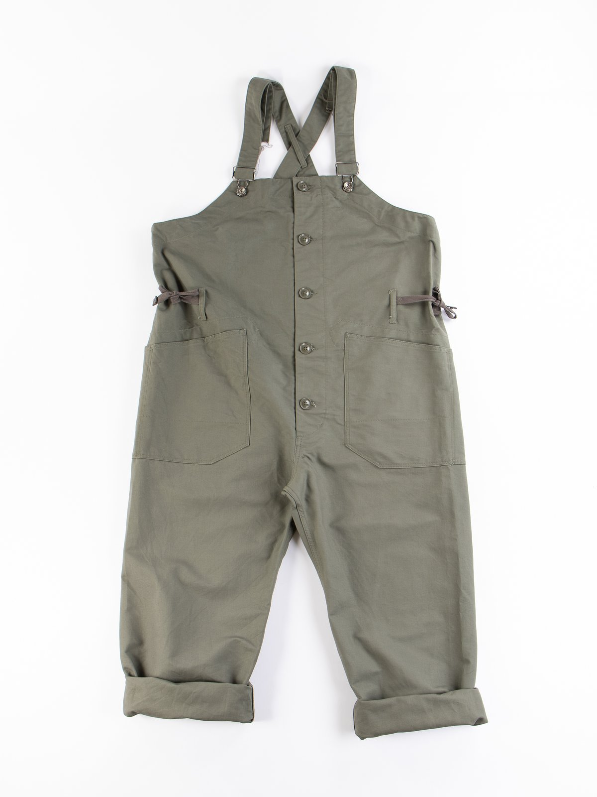 Olive Cotton Double Cloth Overalls - Image 1