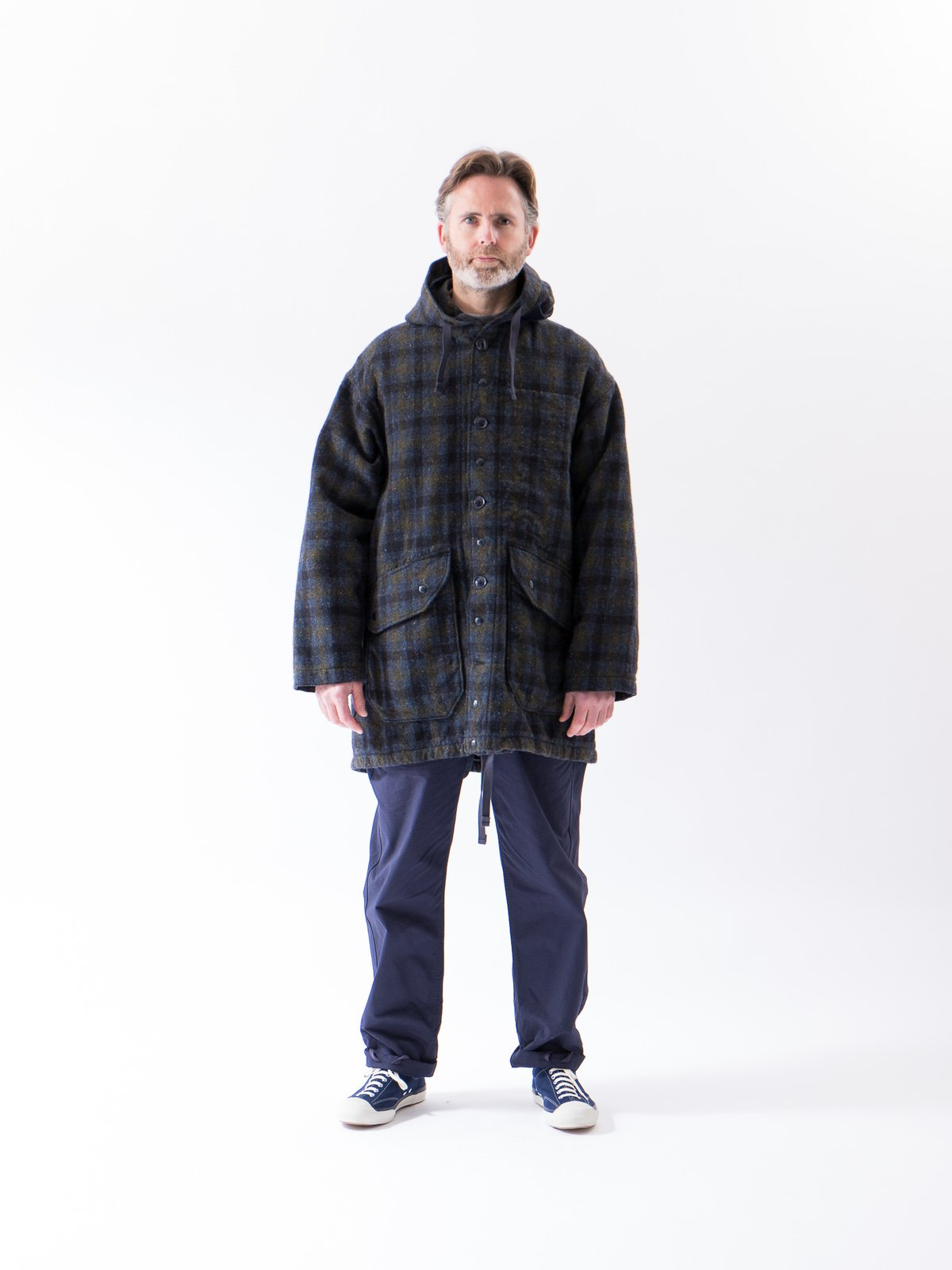 Navy Check Donegal Wool Tweed Madison Parka - Image 2