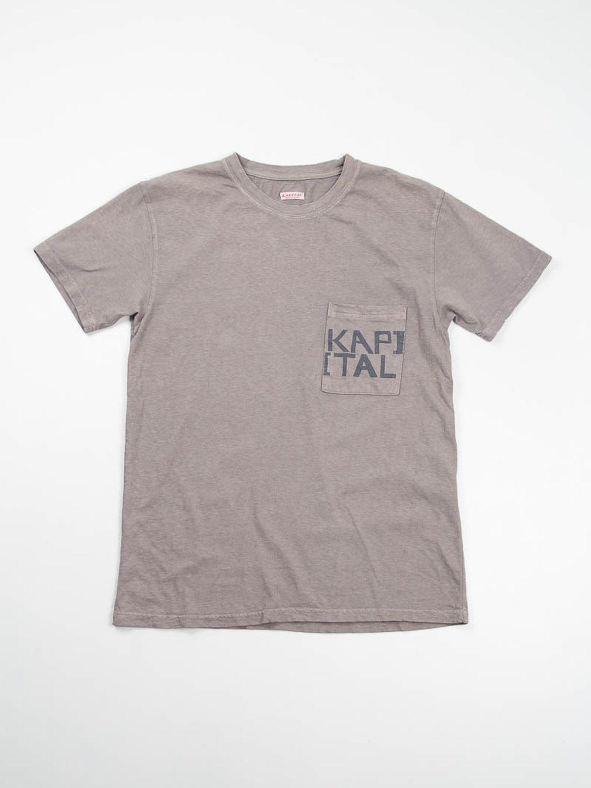 Charcoal Grey Kapital Jersey Crew Pocket T–Shirt - Image 1
