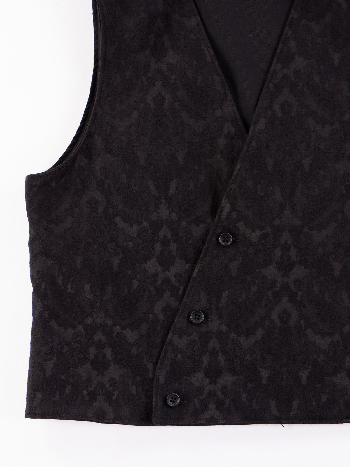Black Worsted Wool Gabardine Reversible Vest - Image 9