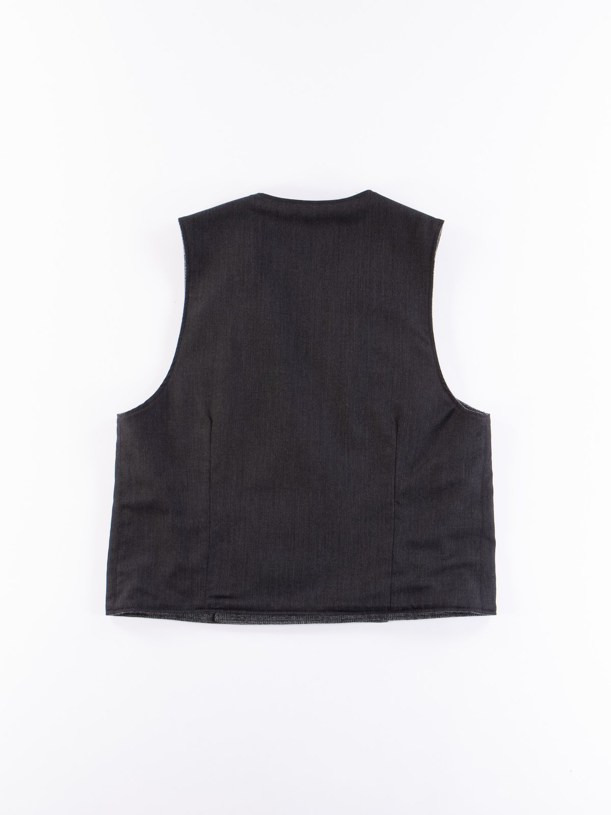 Charcoal Worsted Wool Gabardine Reversible Vest - Image 4
