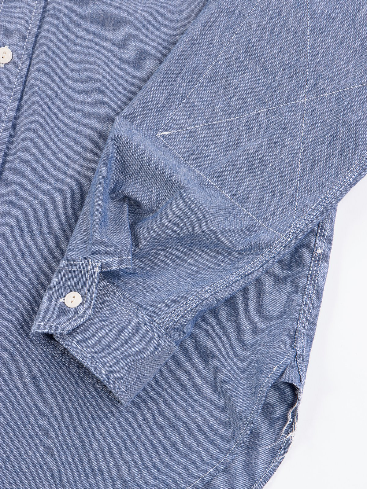 Blue Cotton Chambray Work Shirt - Image 4