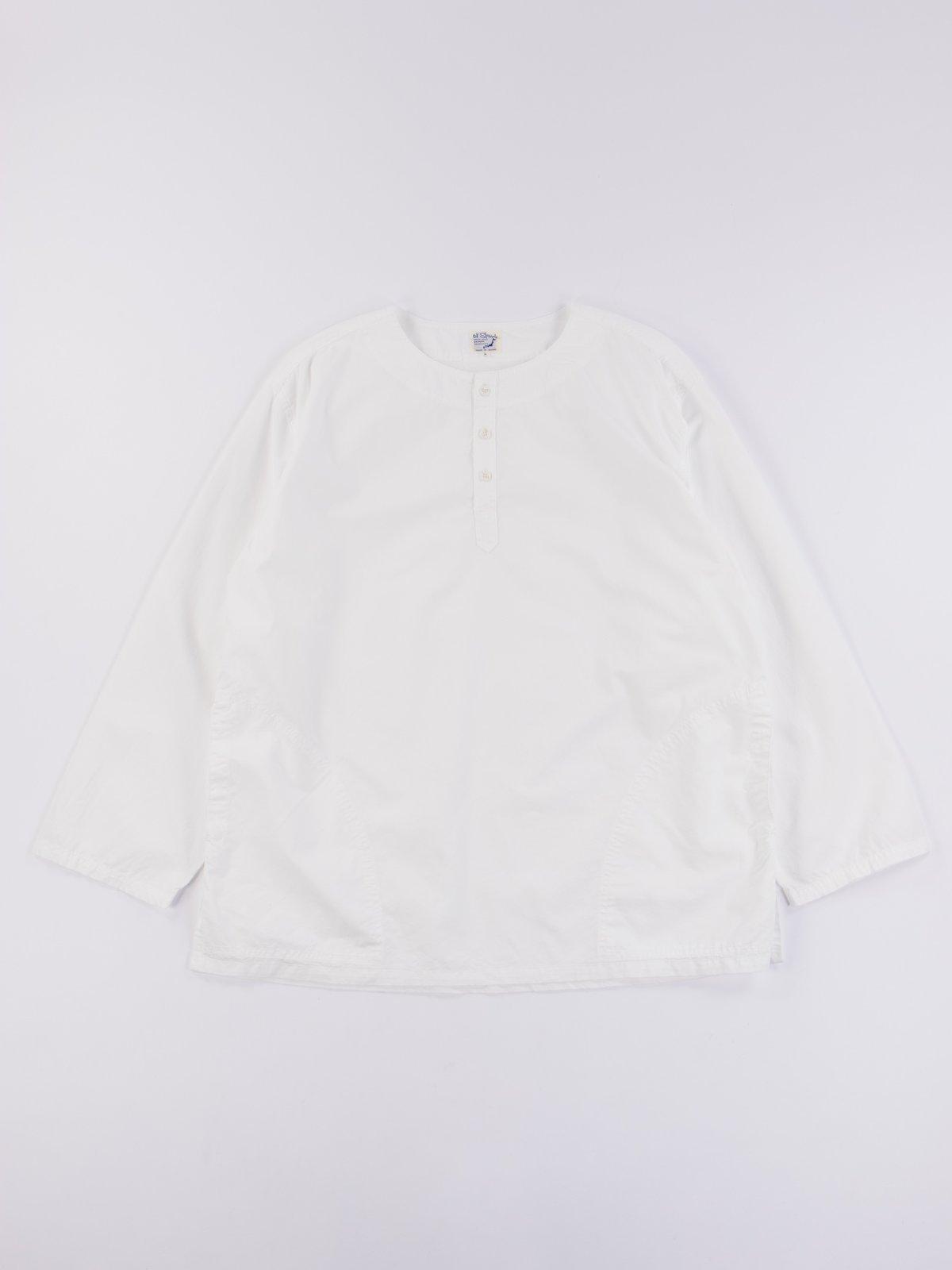White Poplin Pullover Shirt - Image 1
