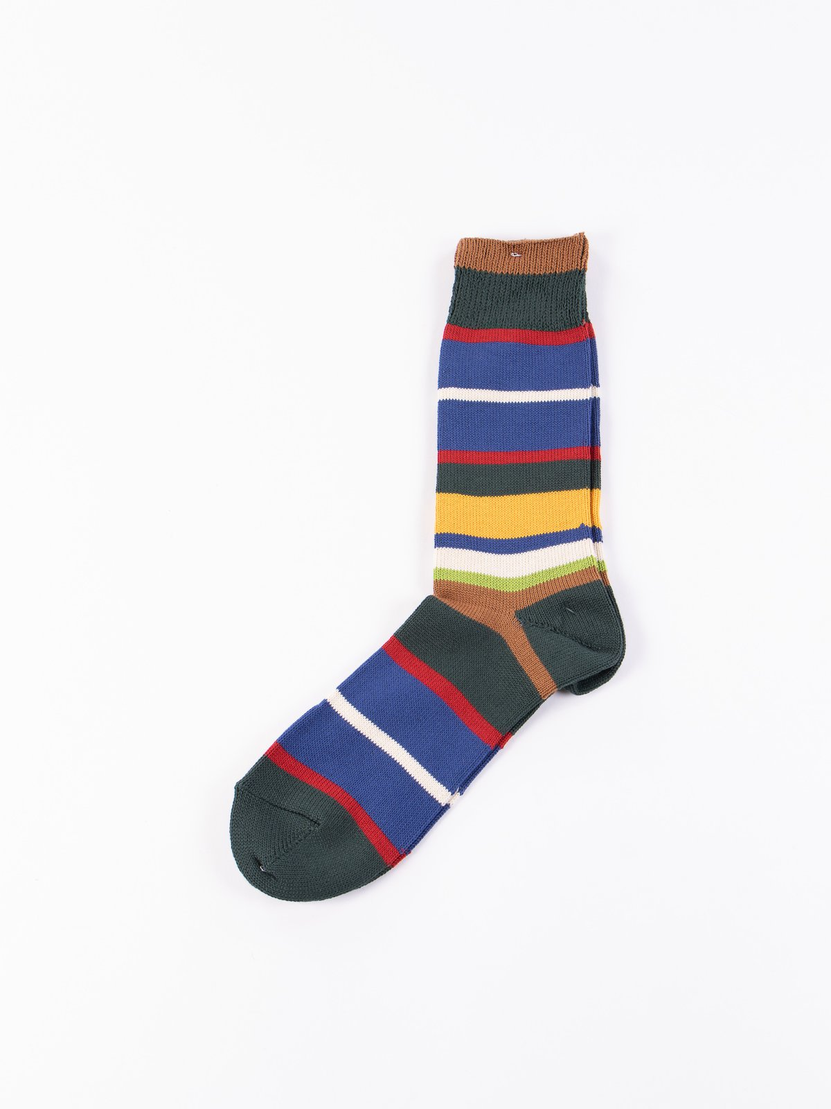 Moss Multi Stripe Crew Socks - Image 1