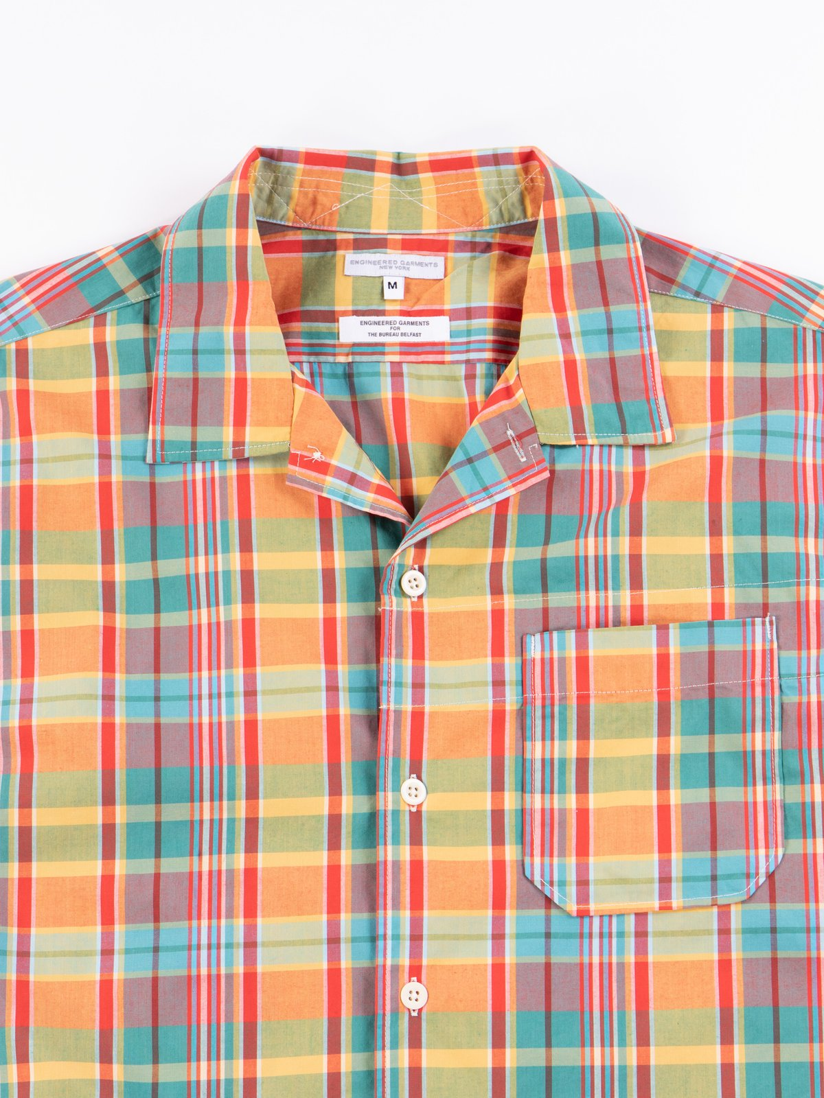 Orange Plaid Cotton Broadcloth Camp Shirt - Image 4