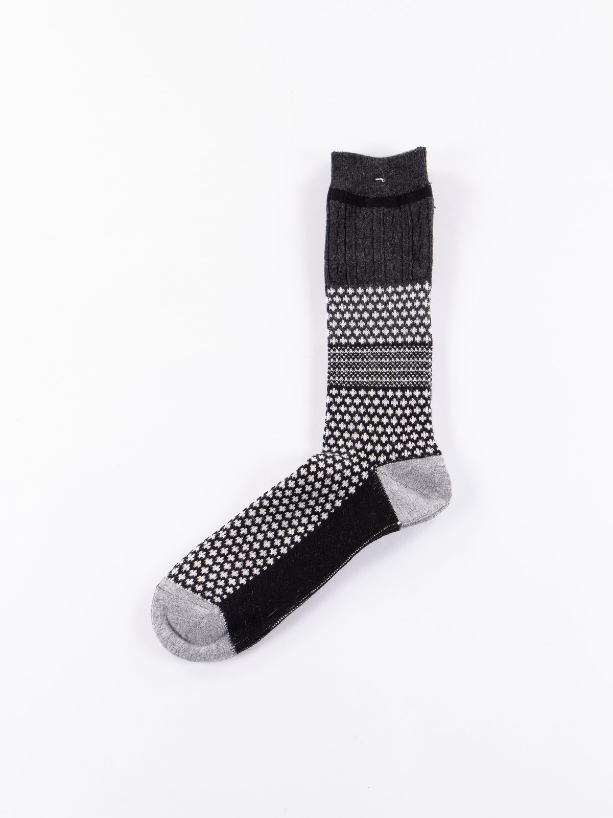 Black/Charcoal Club Knit Socks - Image 1