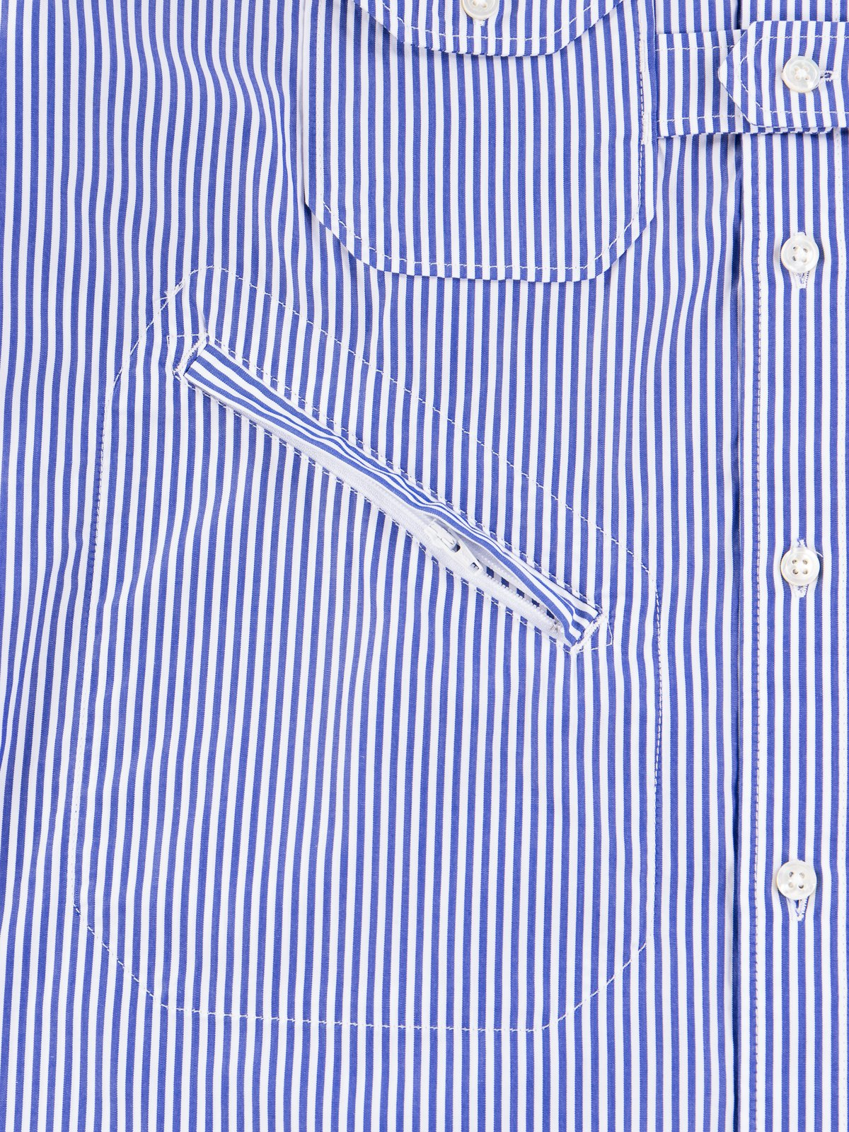Blue/White Candy Stripe Broadcloth Banded Collar Shirt - Image 5