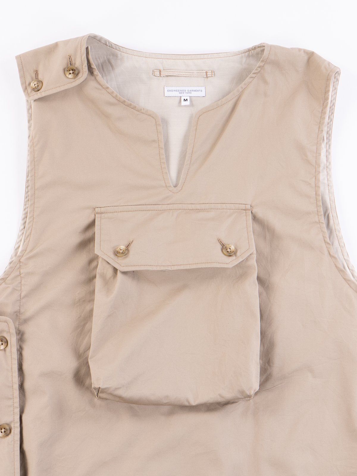Khaki High Count Twill Cover Vest - Image 3