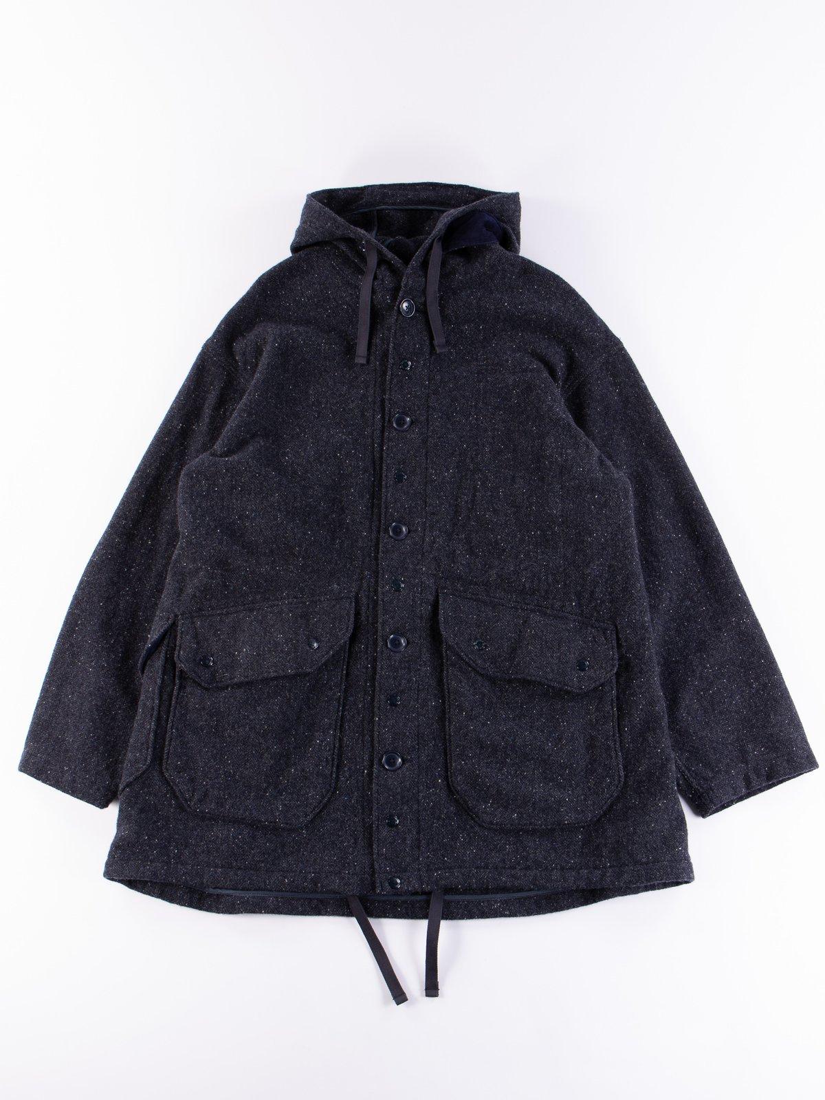 Navy Herringbone Donegal Wool Tweed Madison Parka - Image 1