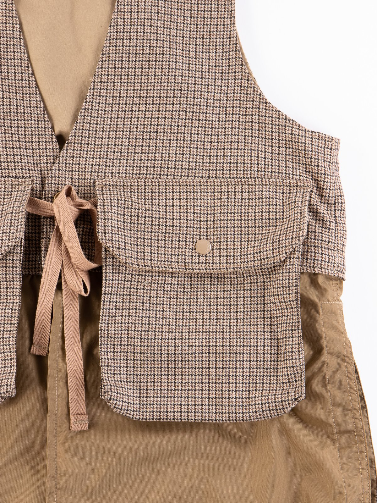 Brown Wool Poly Gunclub Check Long Fowl Vest - Image 4