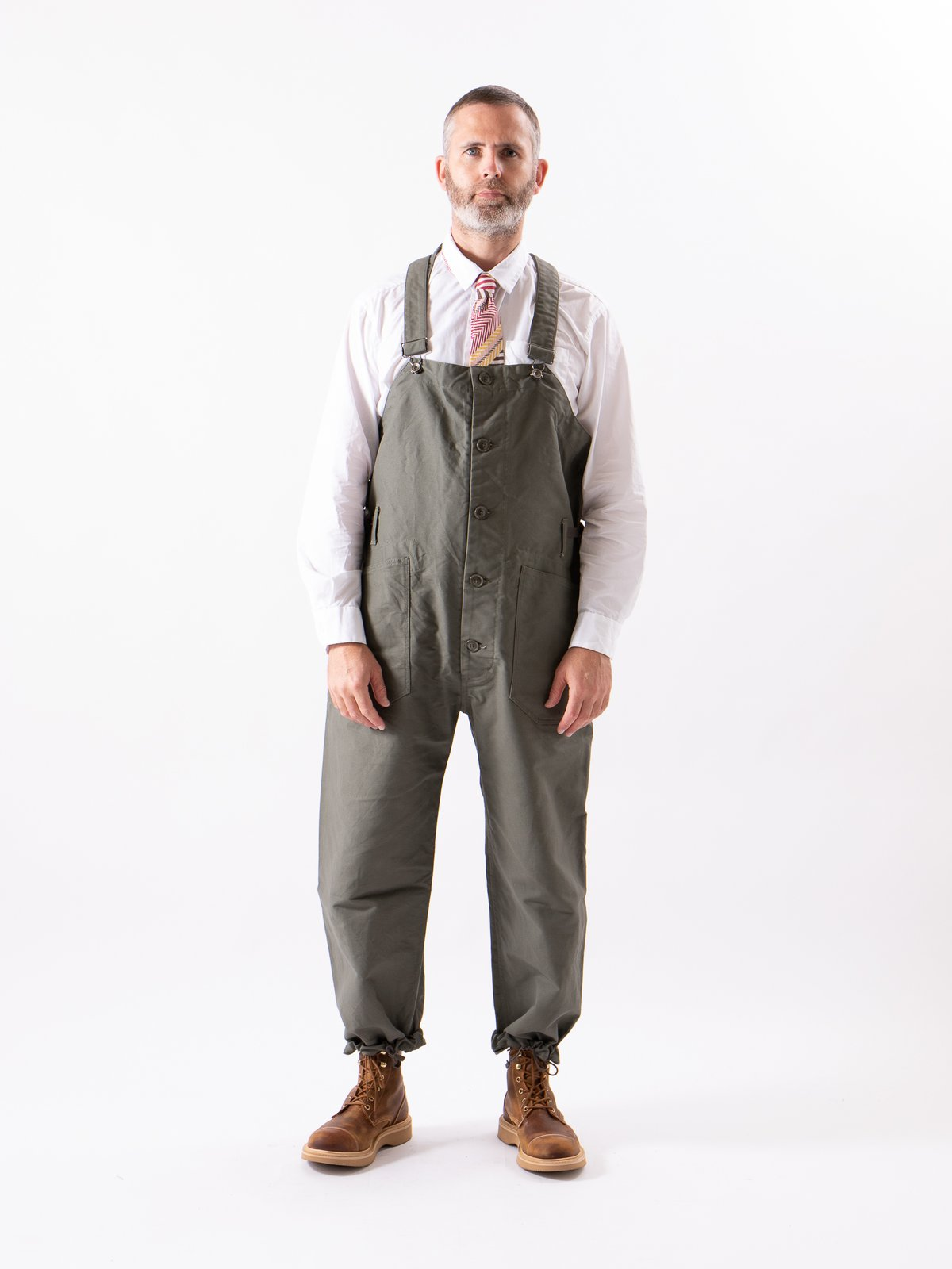 Olive Cotton Double Cloth Overalls - Image 2