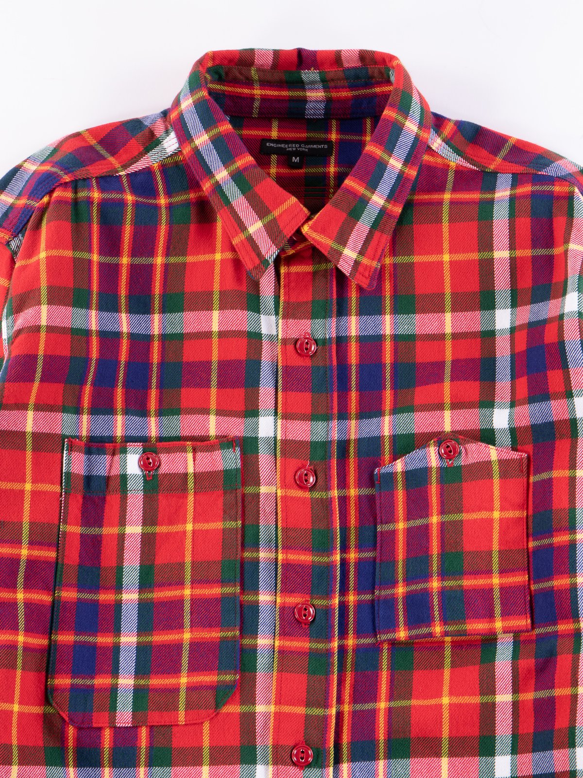 Red/Green/Yellow Cotton Twill Plaid Work Shirt - Image 3