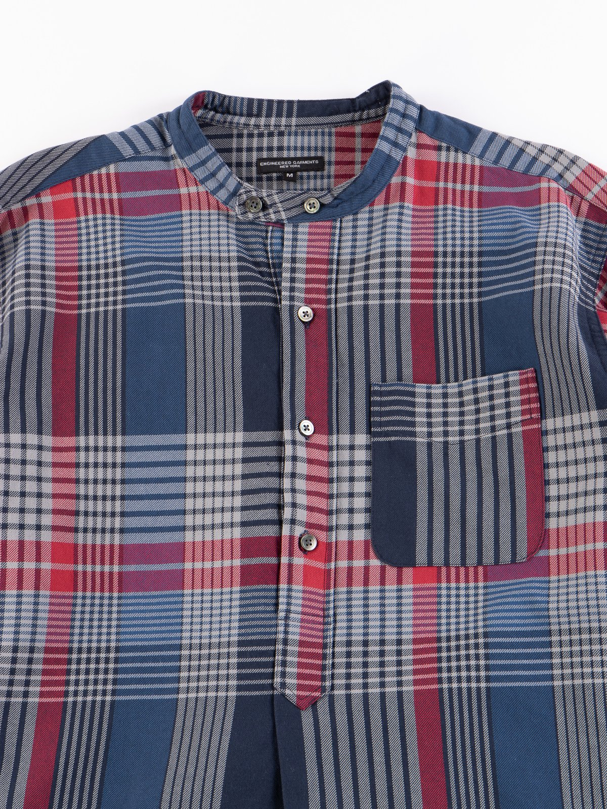 Navy/Grey/Red Cotton Twill Plaid Banded Collar Shirt - Image 3