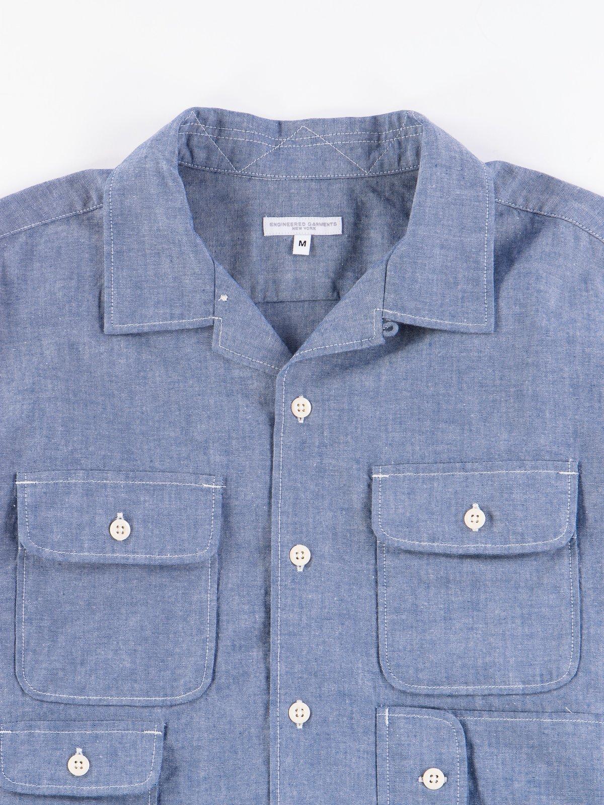 Blue Cotton Chambray Bowling Shirt - Image 4