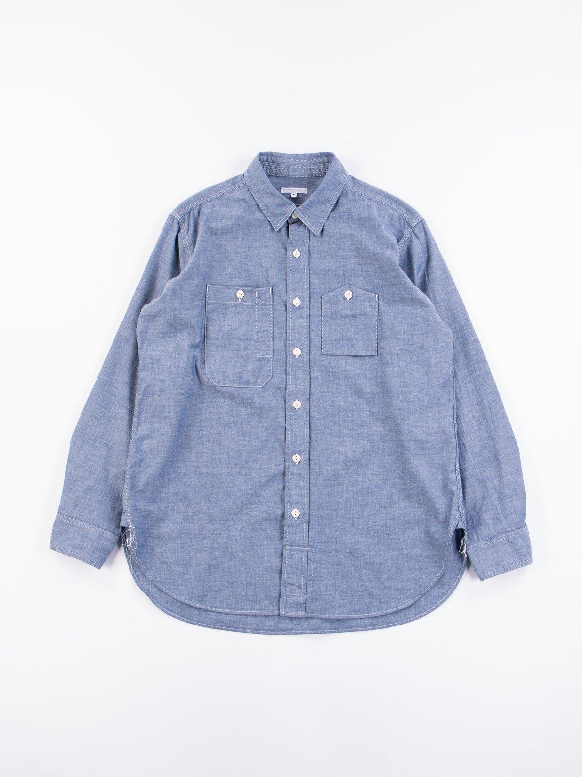 Blue Cotton Chambray Work Shirt - Image 1