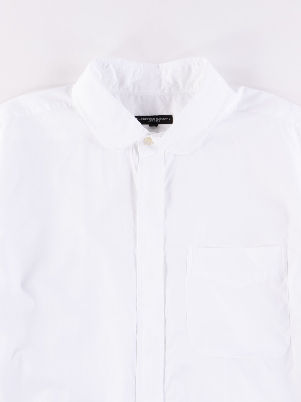 White 100's 2Ply Broadcloth Rounded Collar Shirt - Image 3