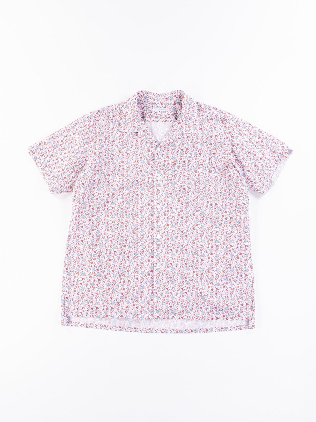 White/Blue/Orange Small Floral Camp Shirt - Image 1