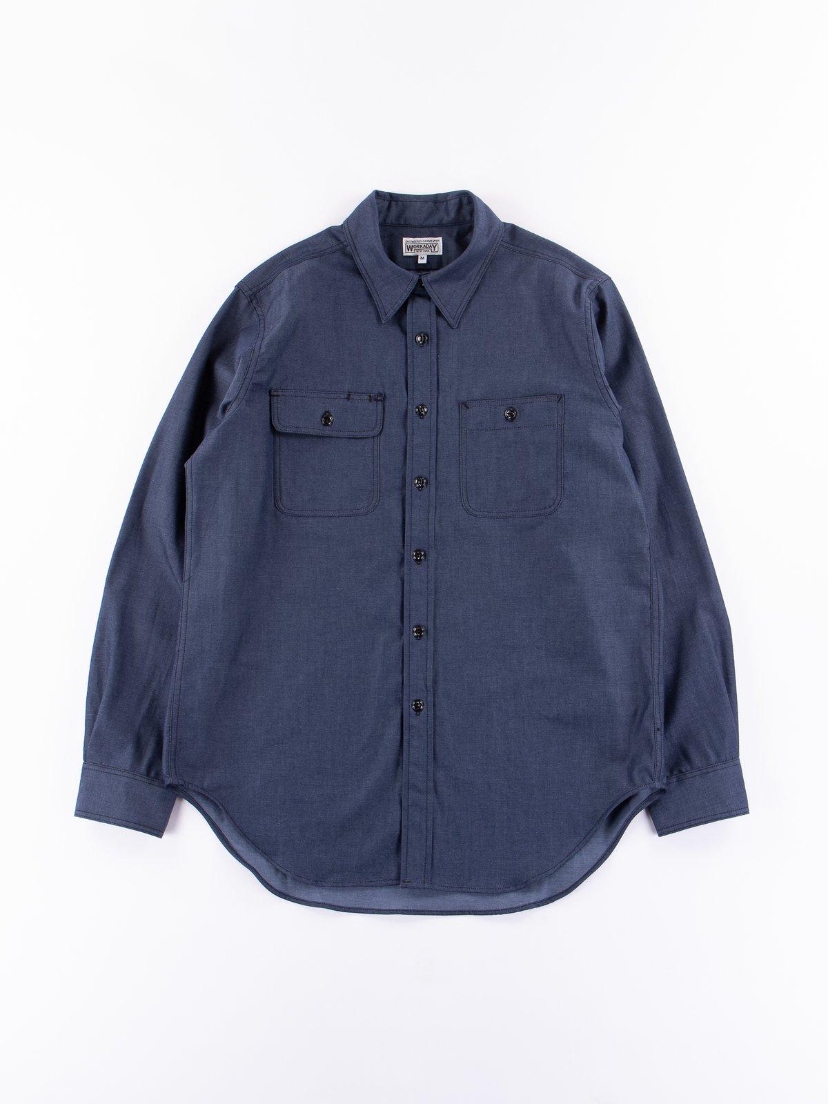 Indigo Cotton Denim Utility Shirt - Image 1
