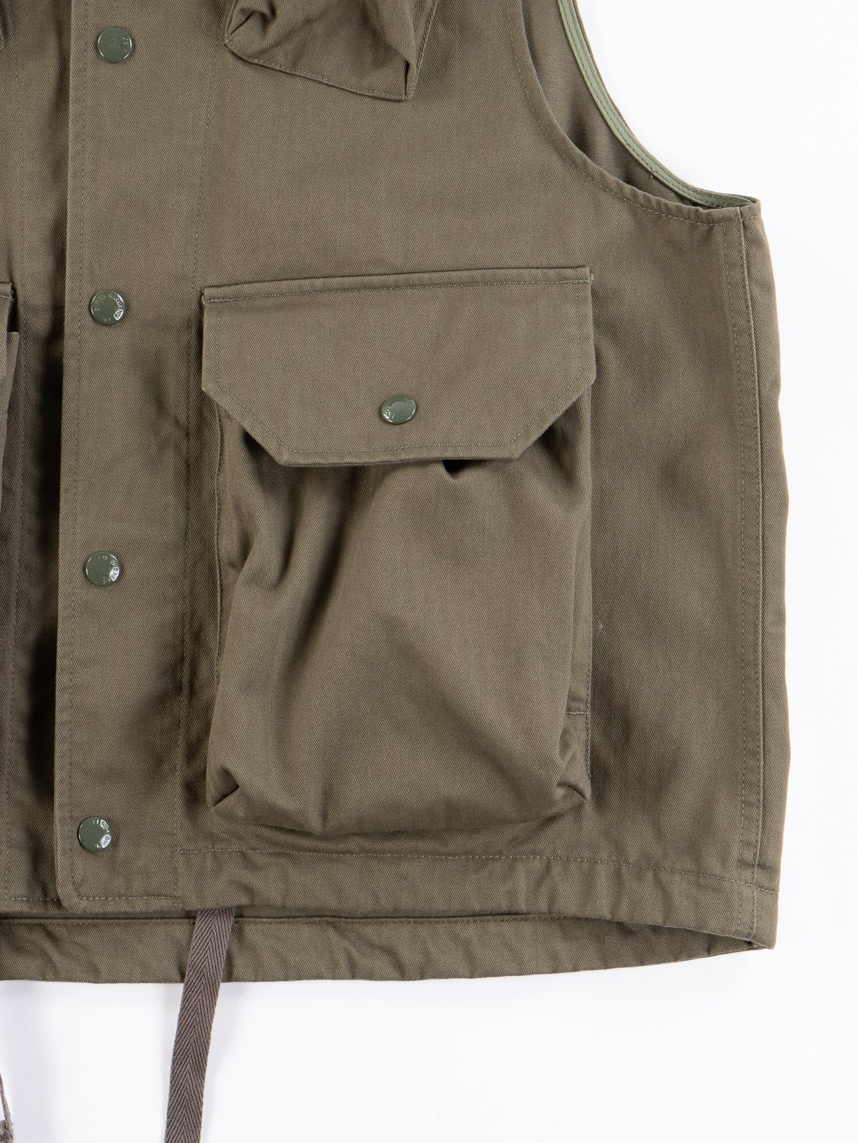 Olive Cotton Herringbone Twill Field Vest - Image 4