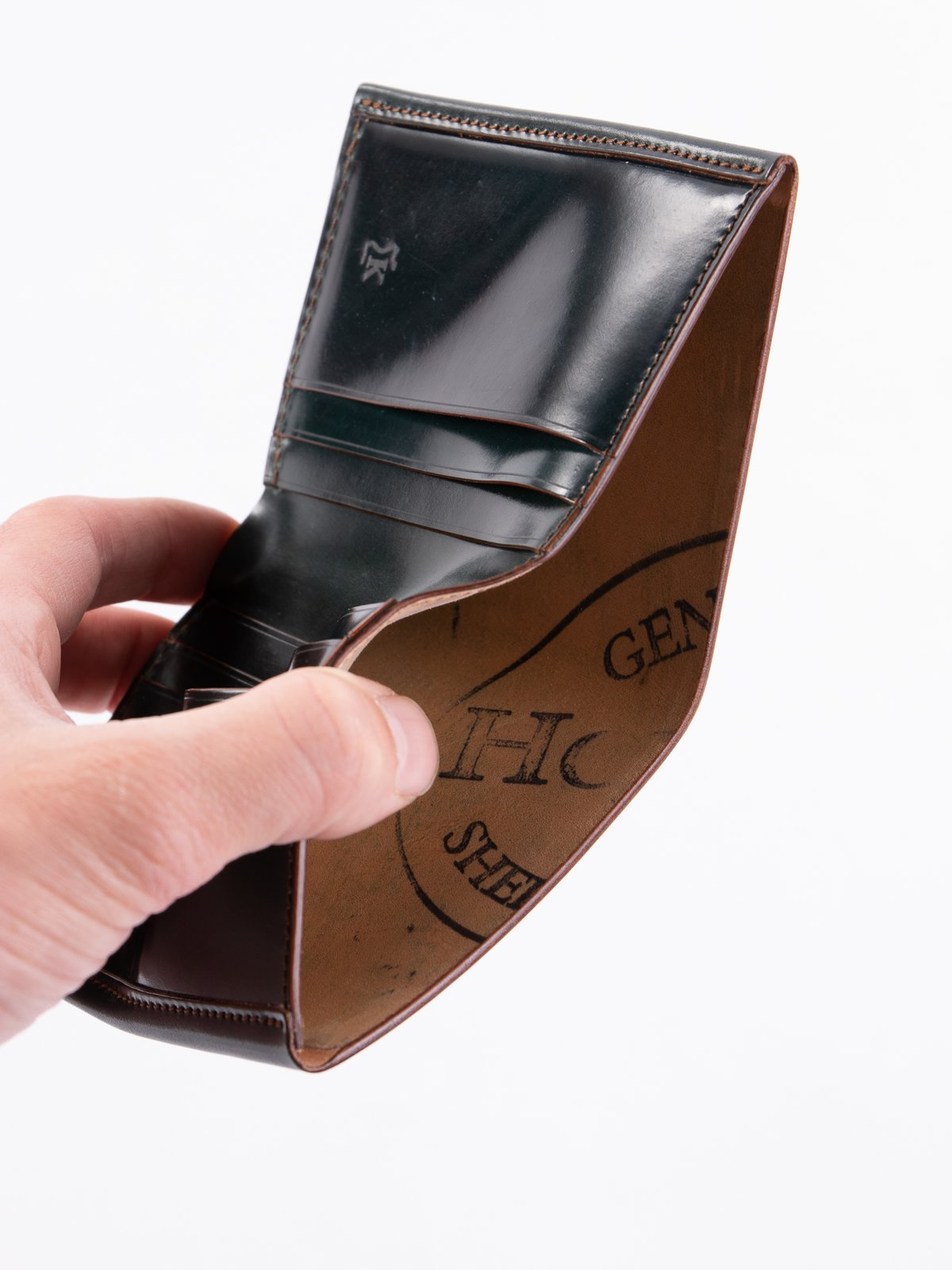 Green Horween Cordovan 3–3 Wallet - Image 4