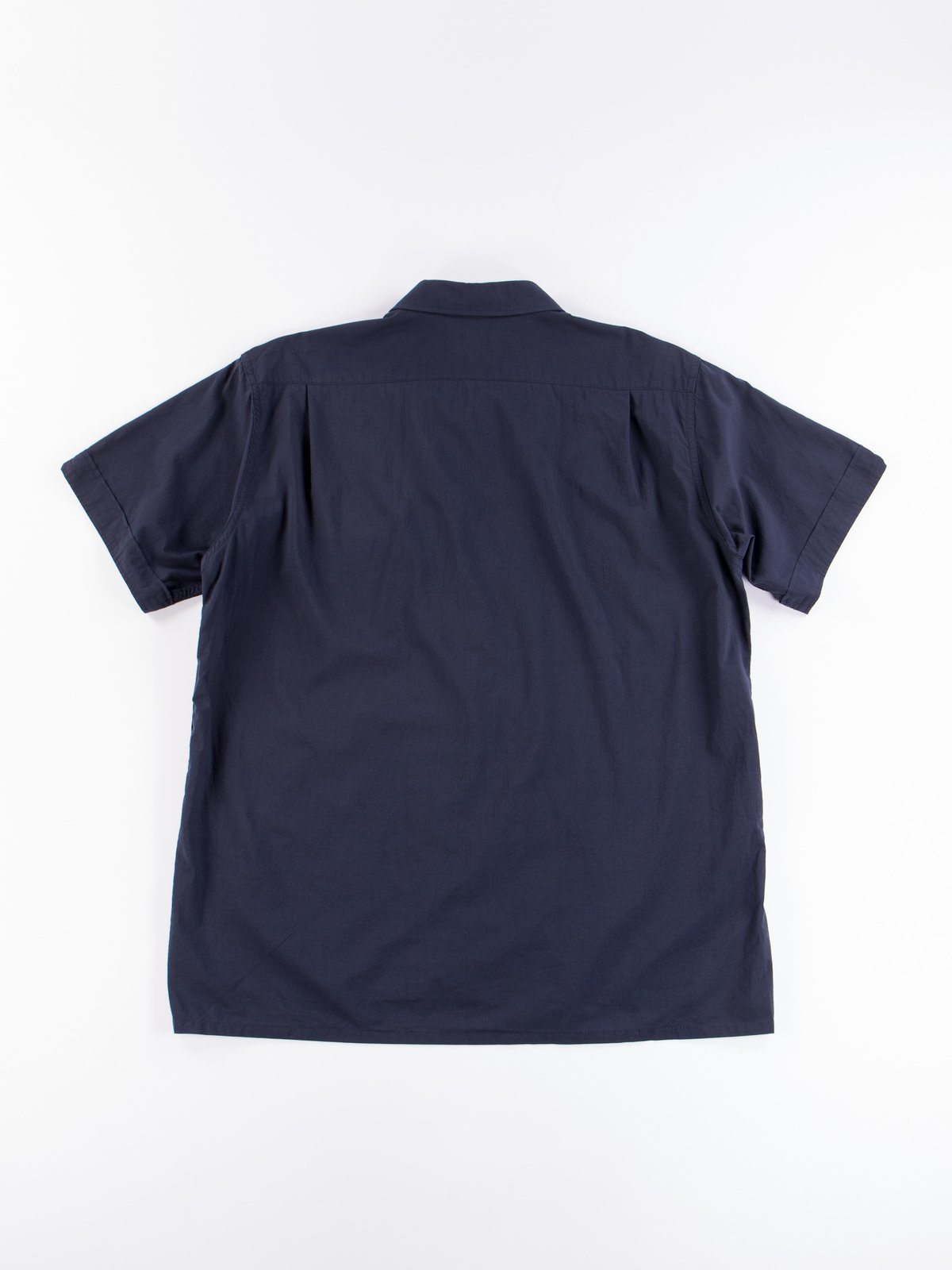 Navy Solid Cotton Lawn Camp Shirt  - Image 5