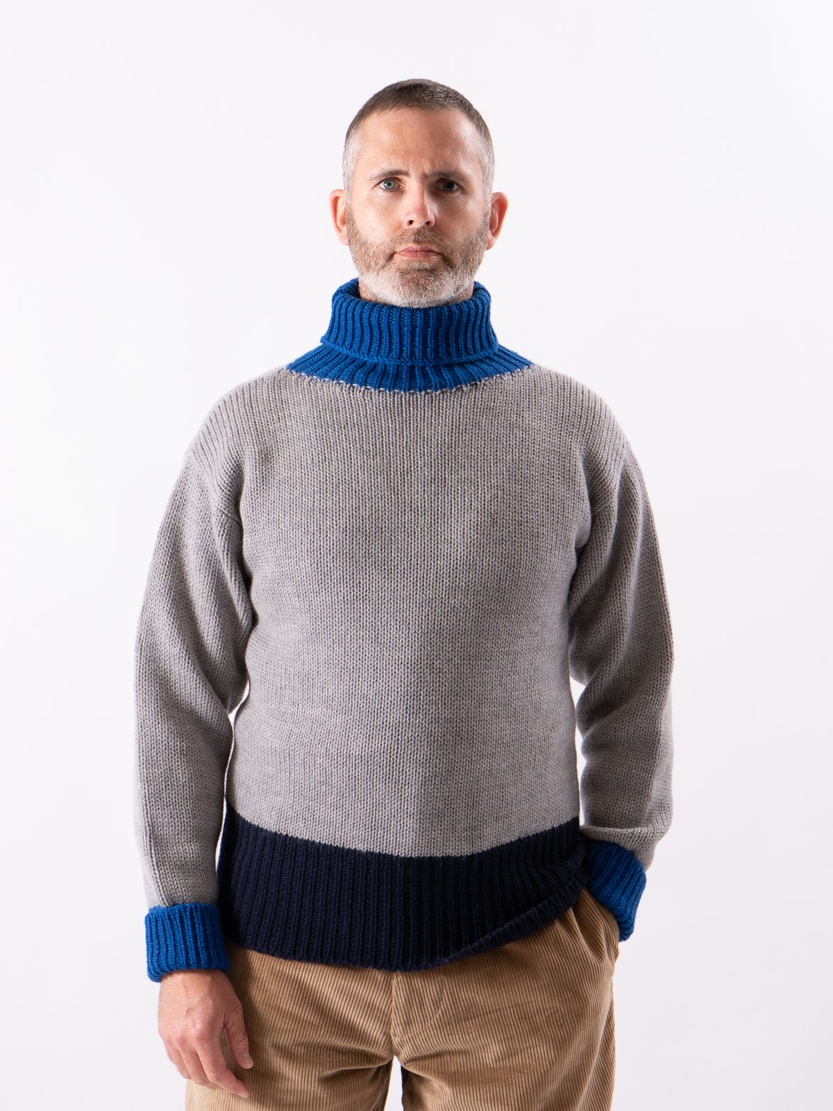 Grey/Navy/Blue George Lowe Roll Neck - Image 2