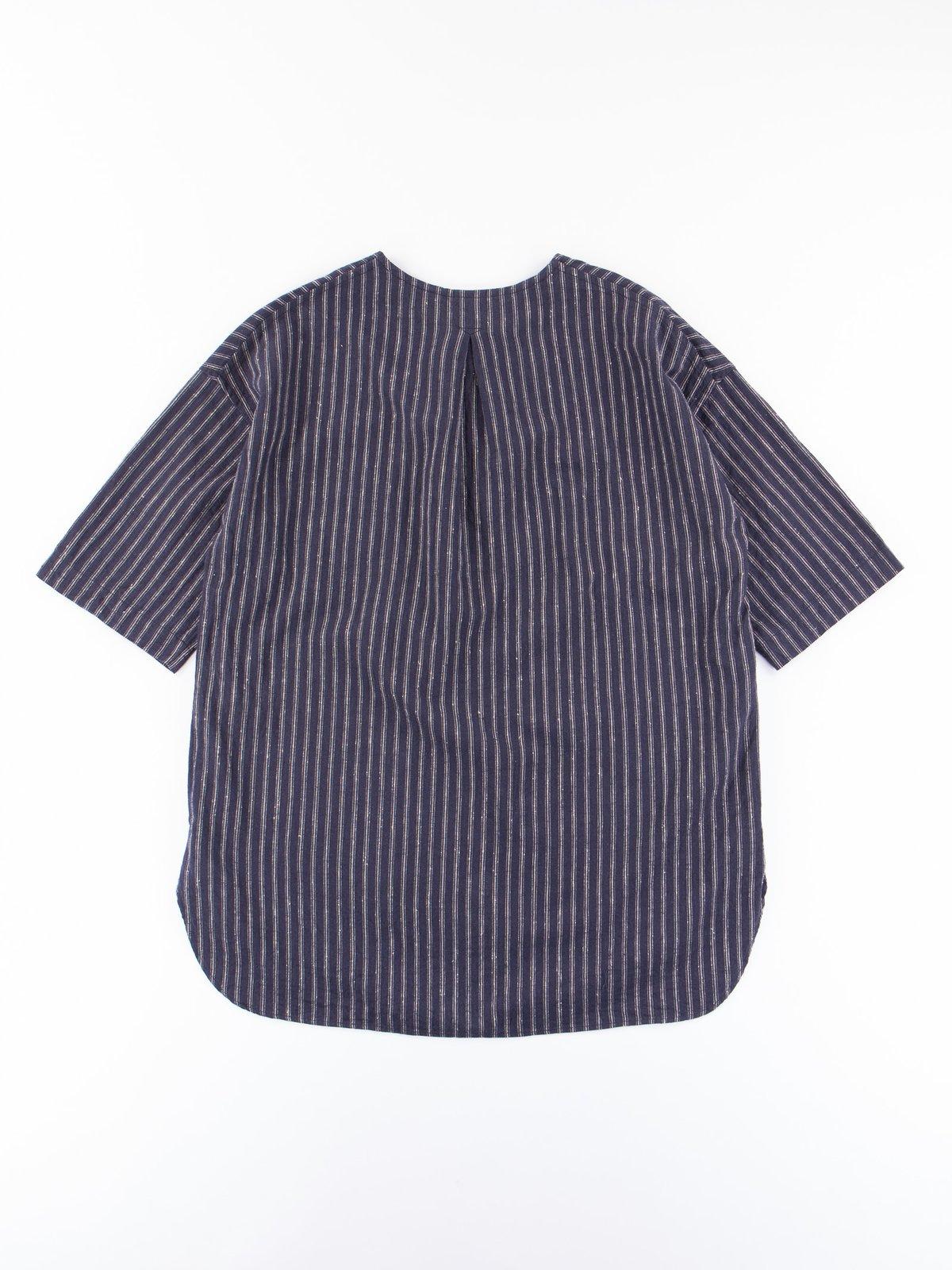 Dark Navy Stripe Henley SS Shirt - Image 4