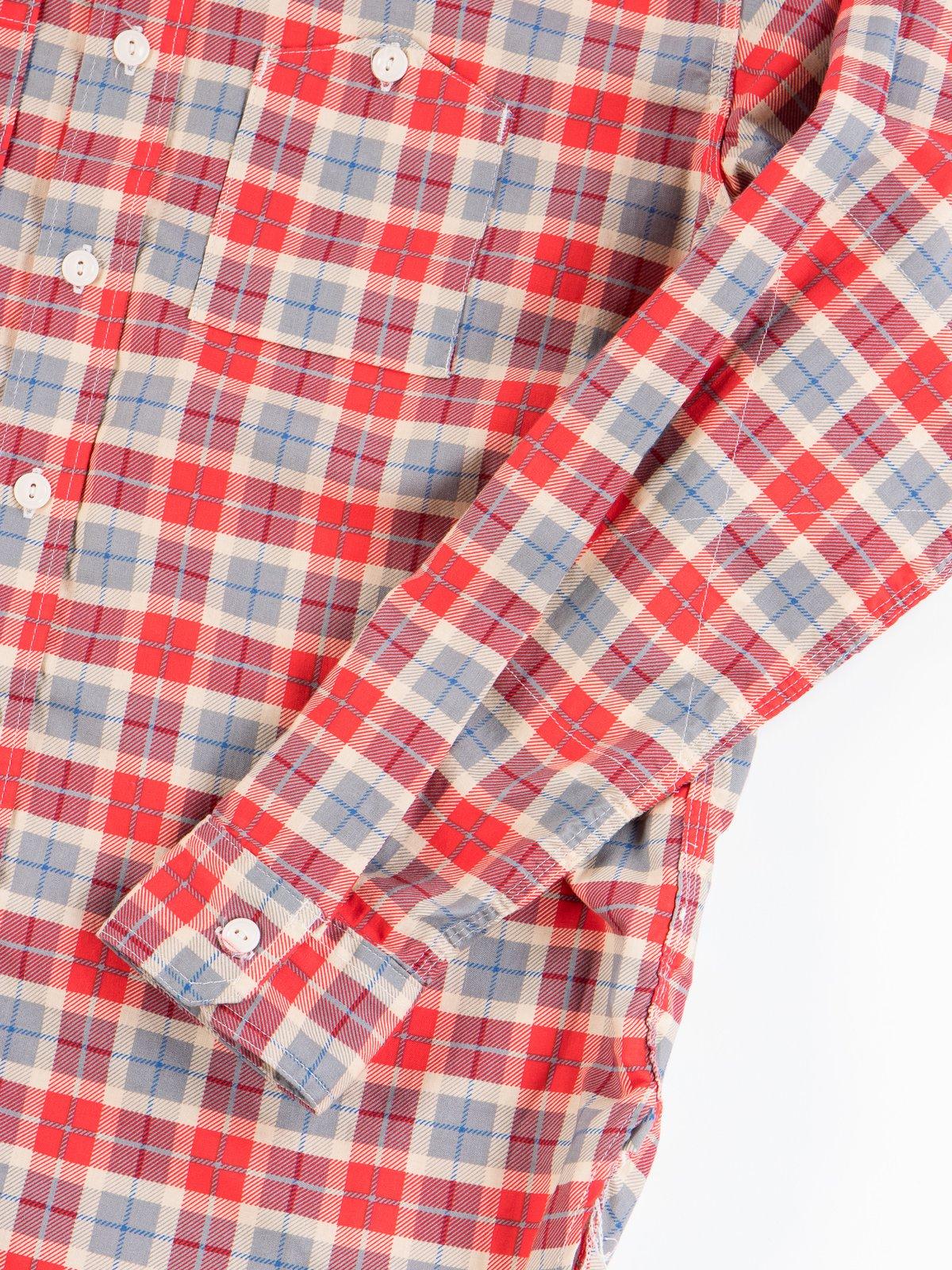 Red/Beige Cotton Printed Plaid Work Shirt - Image 5