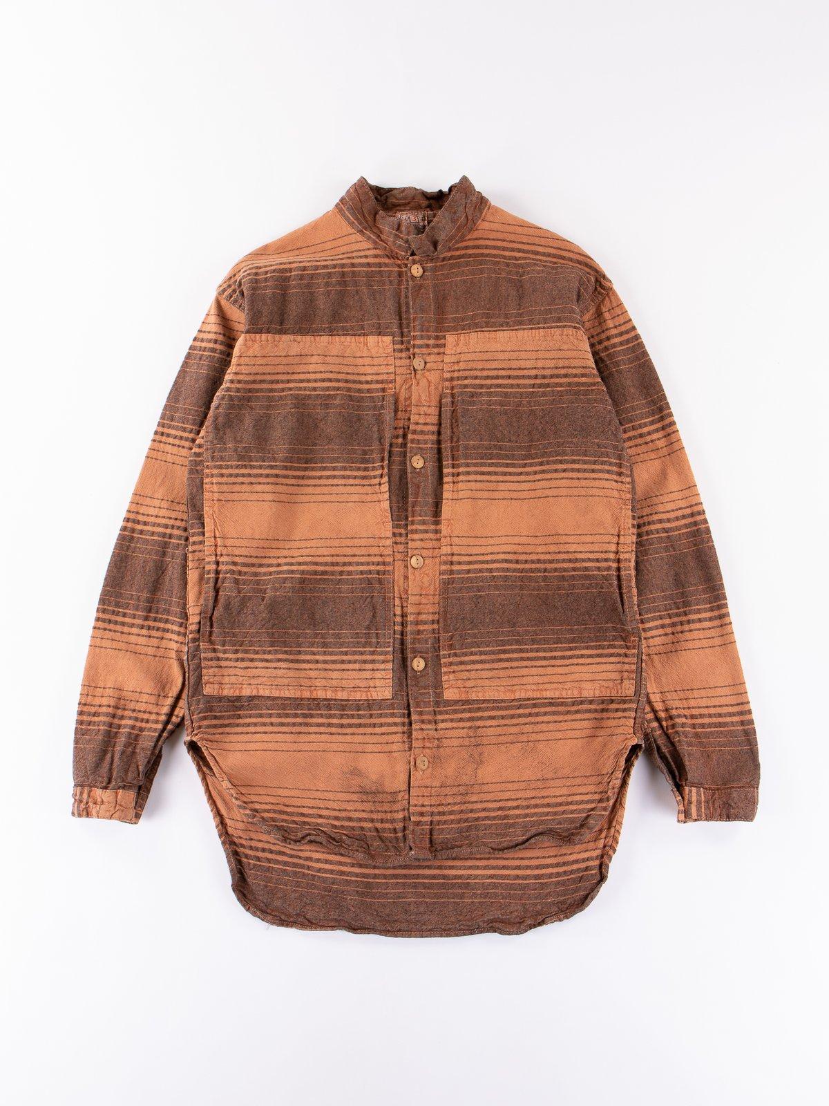 Red Ochre Dye Indigo Doppler Stripe Calico Periscope Pocket Tail Shirt - Image 1