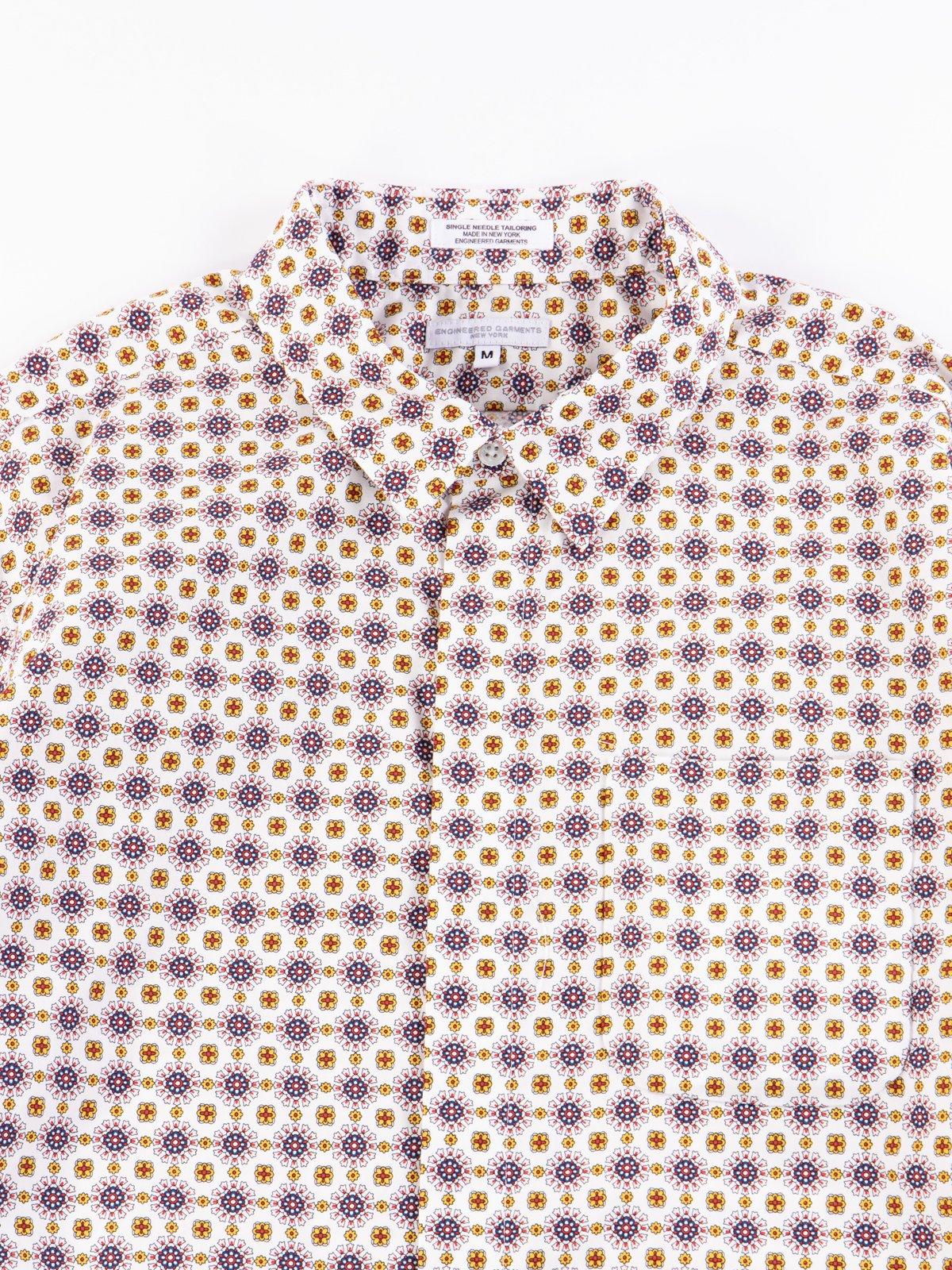 White Floral Foulard Print Short Collar Shirt - Image 3
