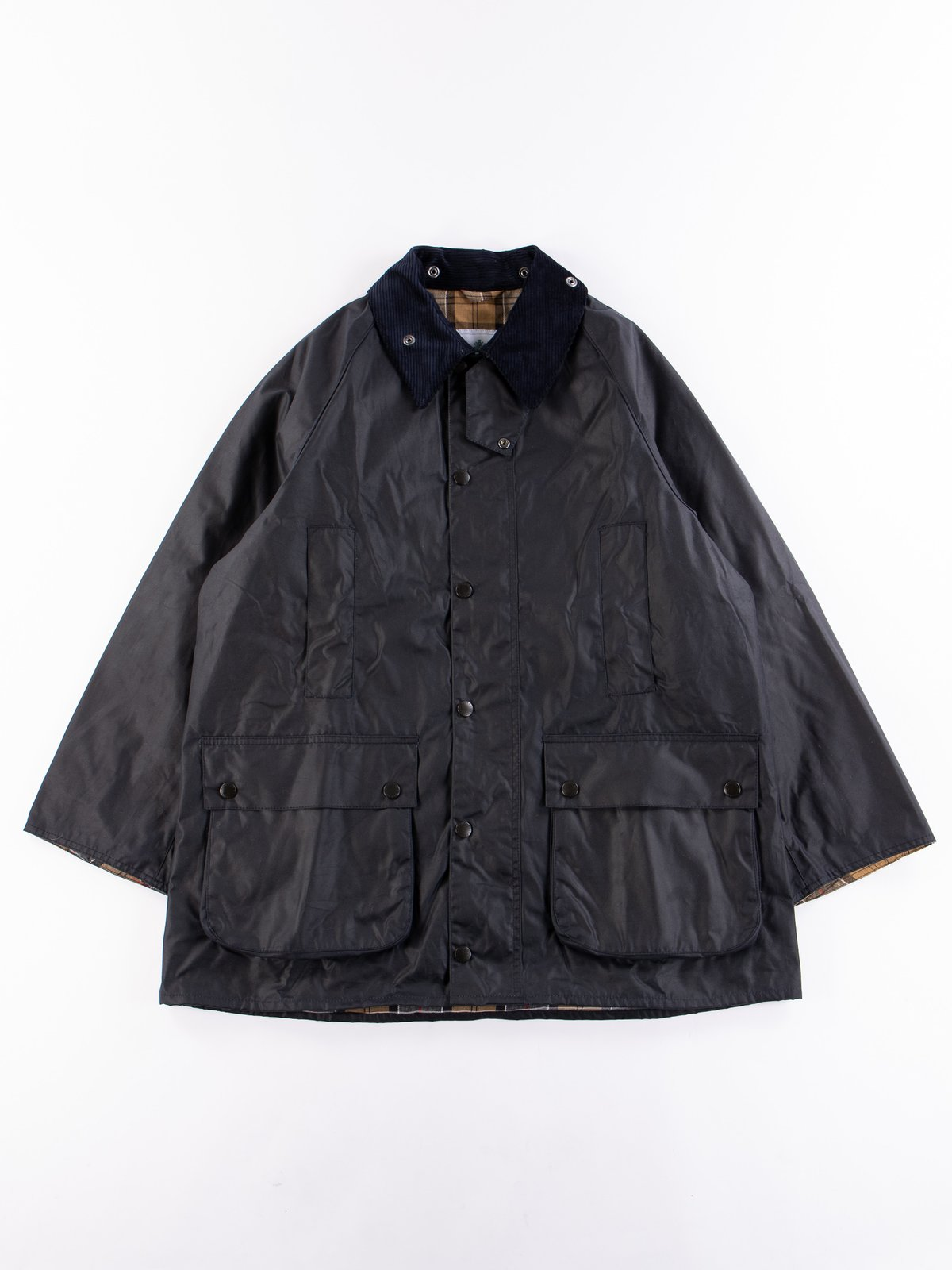 Navy Oversized Beaufort Waxed Cotton Jacket - Image 1
