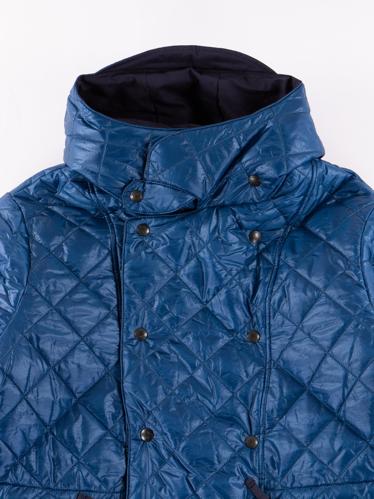Navy 3oz Zigzag Dotera Fill Hooded Quilted Jacket - Image 3