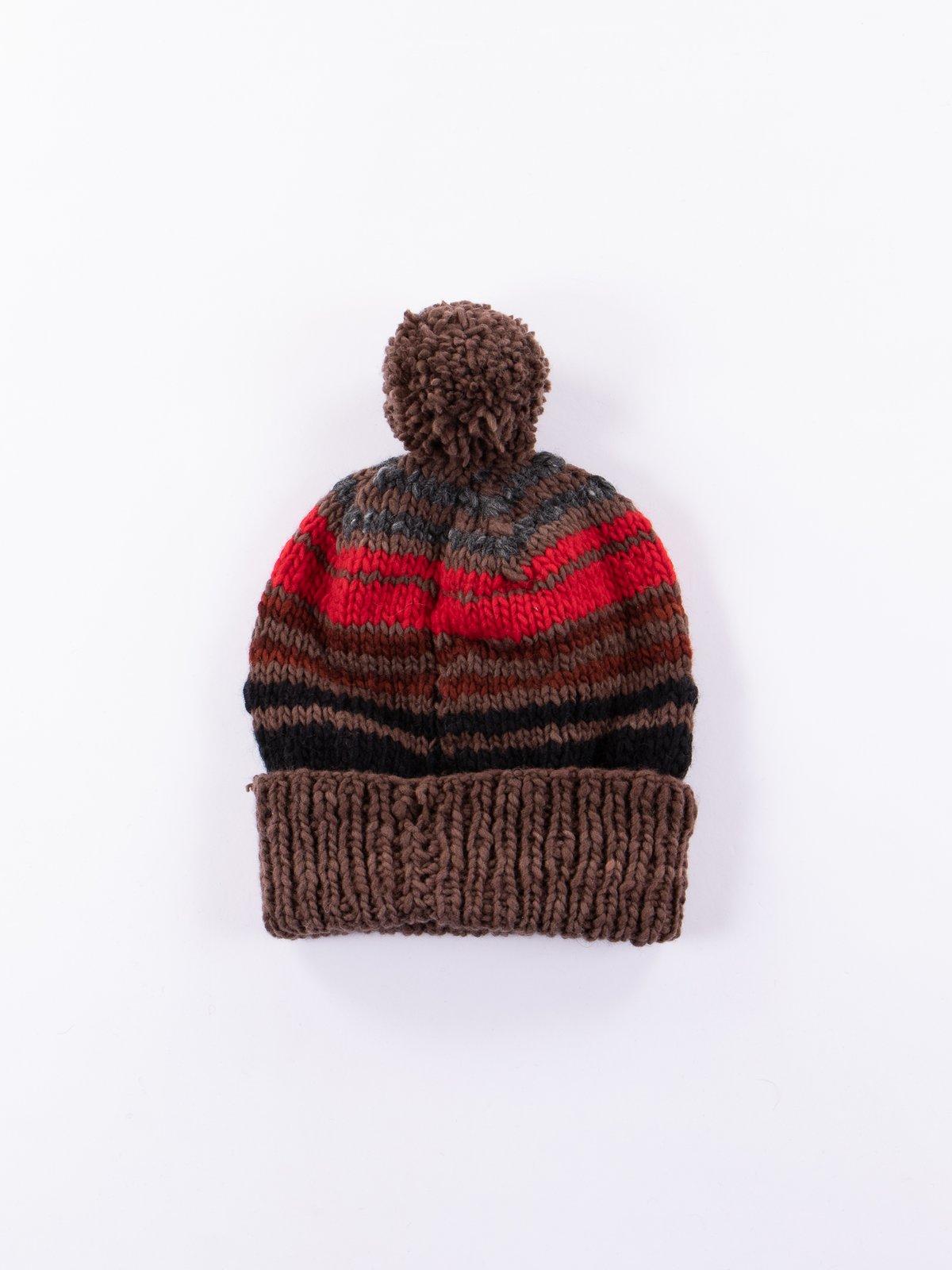Brown Multi Double Cuff Stripe Cap - Image 1