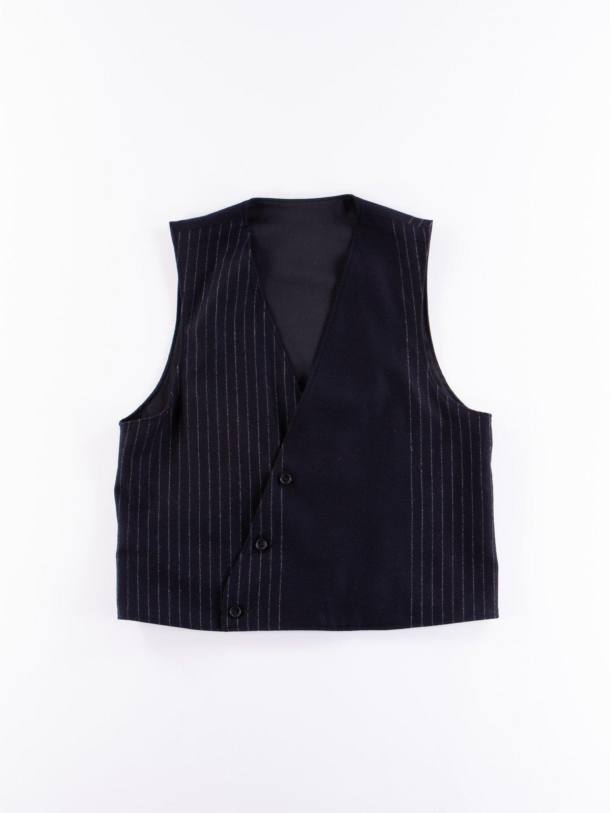 Dark Navy Worsted Wool Gabardine Reversible Vest - Image 5