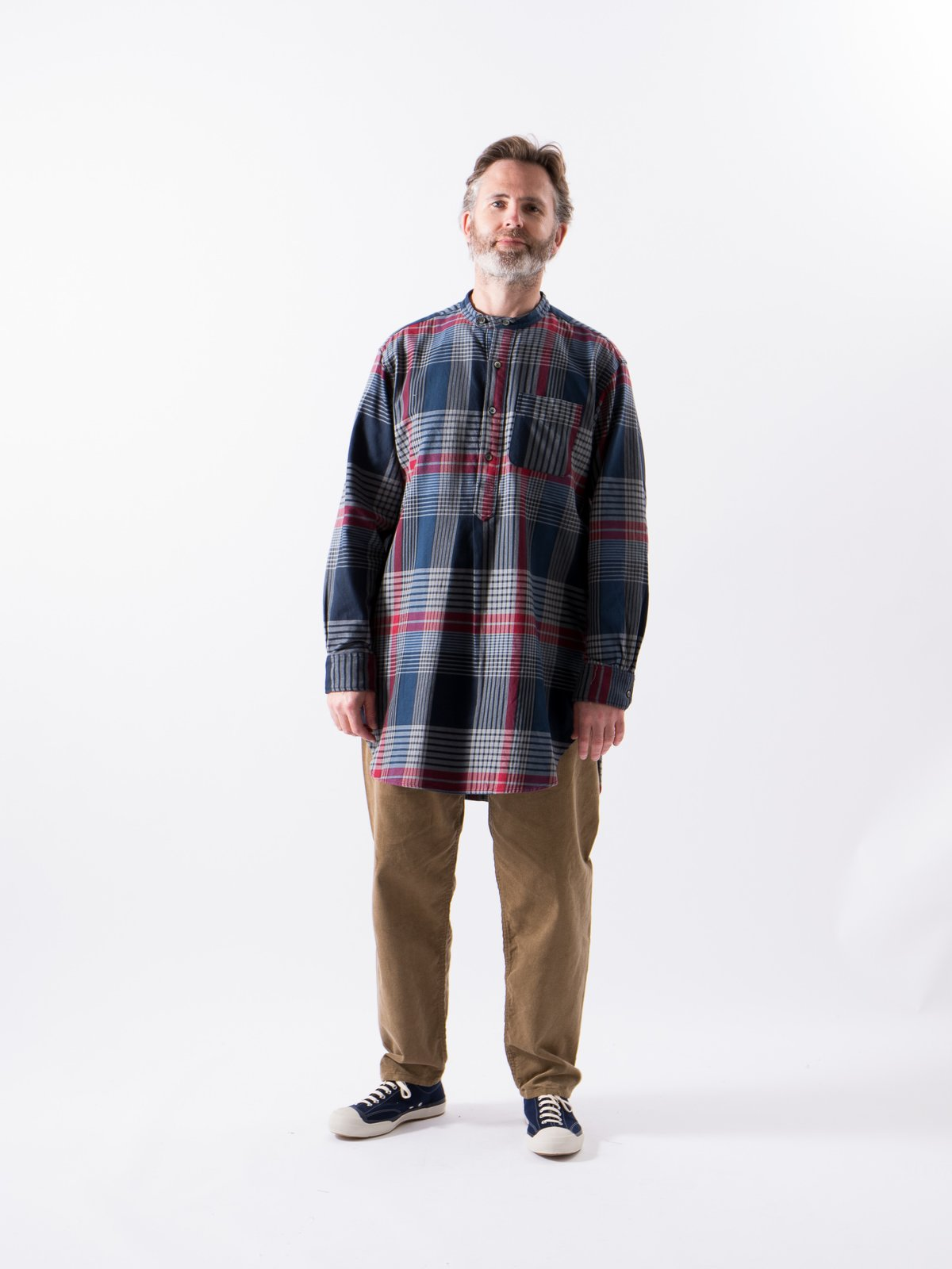 Navy/Grey/Red Cotton Twill Plaid Banded Collar Shirt - Image 2