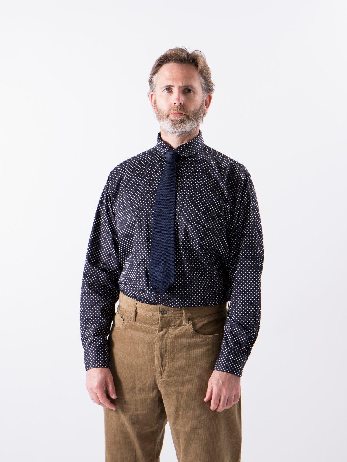 Navy Cotton Big Polka Dot Broadcloth Rounded Collar Shirt - Image 2
