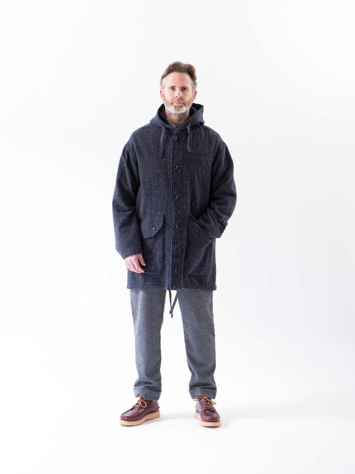 Navy Herringbone Donegal Wool Tweed Madison Parka - Image 2