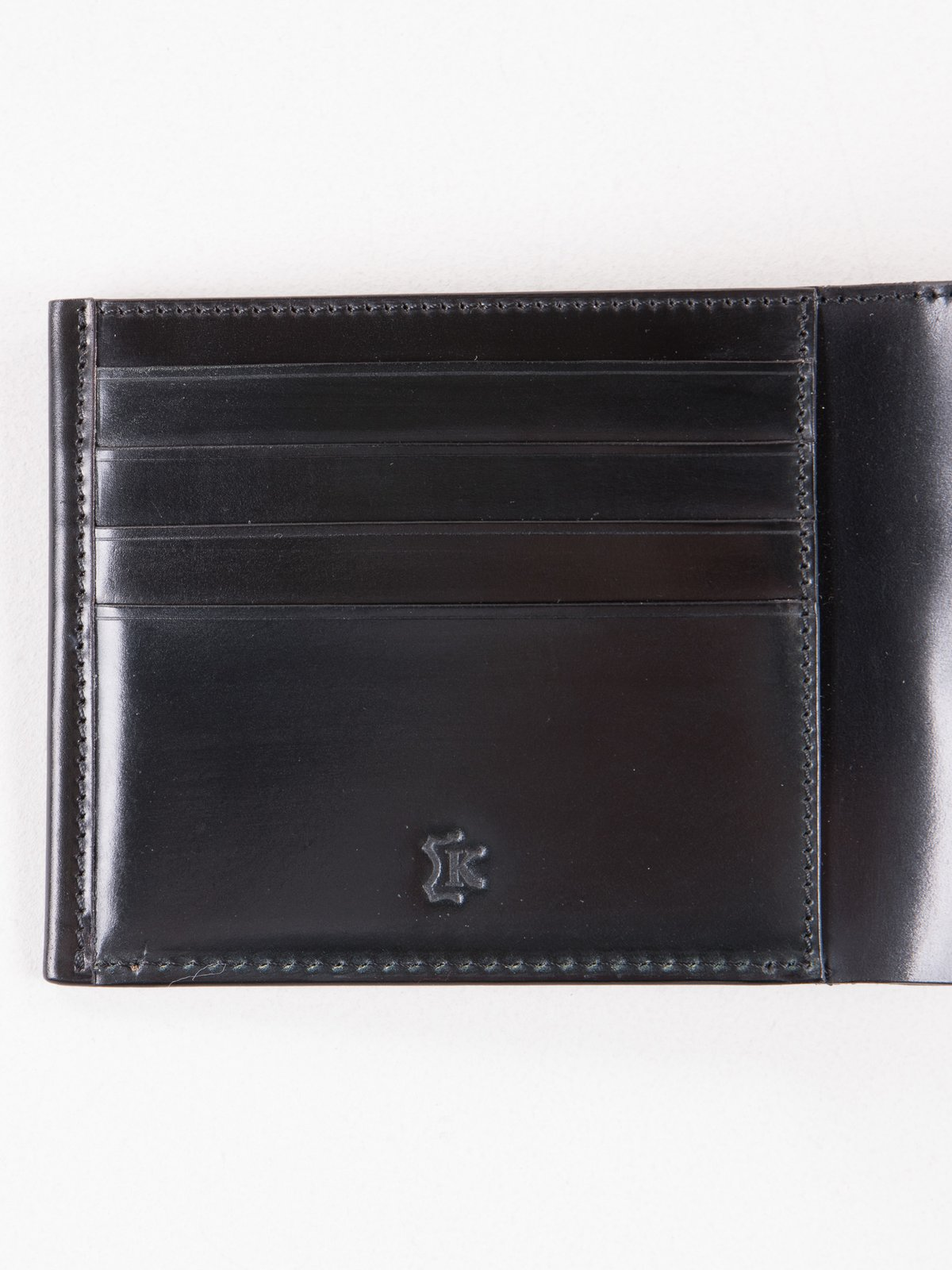 Black Horween Cordovan 4–4 Wallet - Image 2