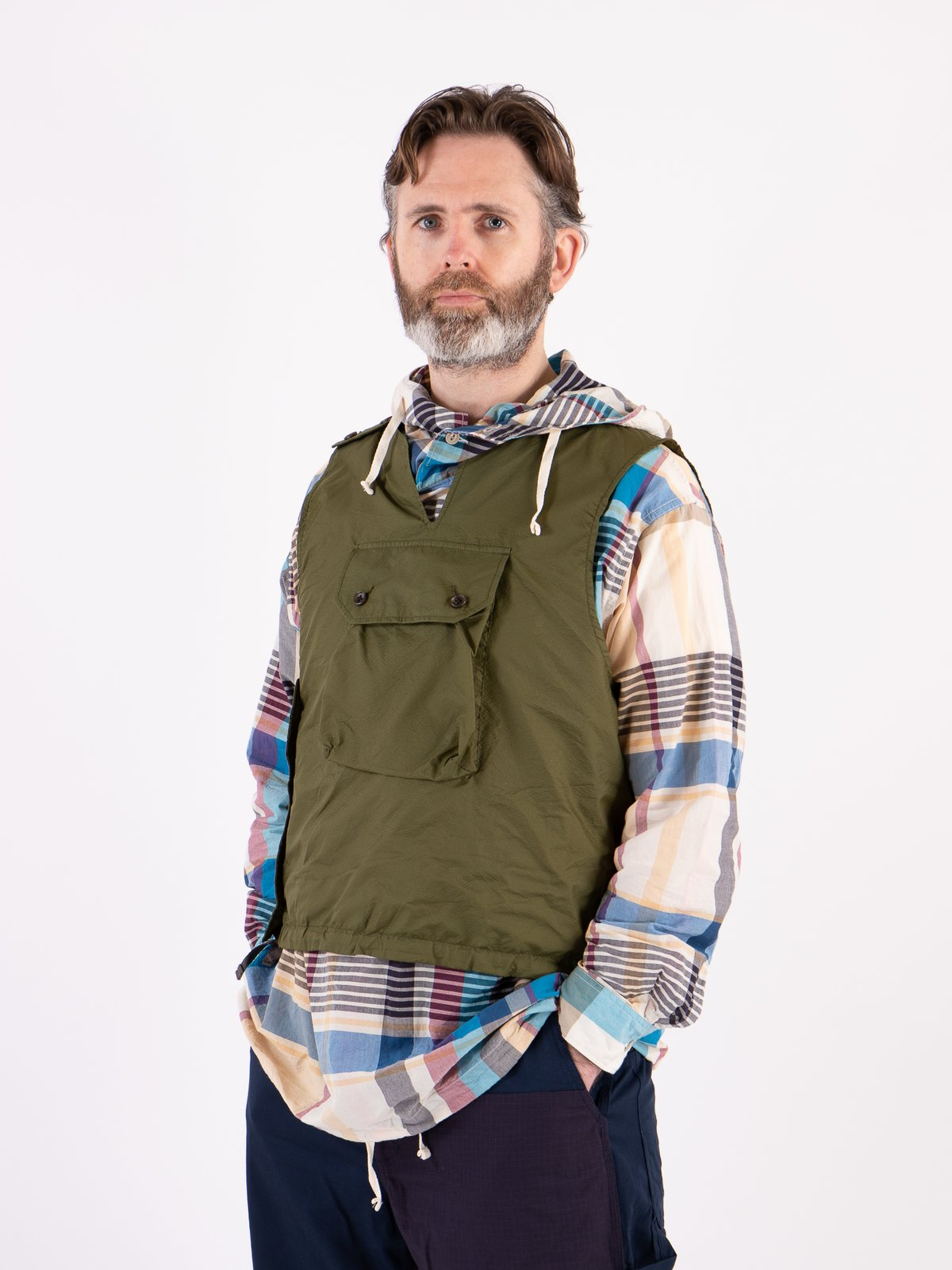 Olive Nylon Micro Ripstop Cover Vest - Image 2