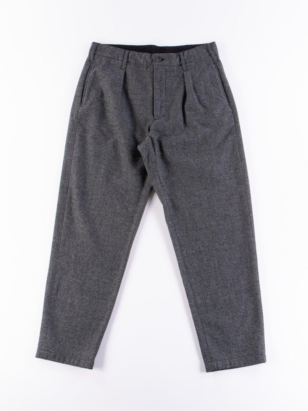 Grey Wool Glen Plaid Stripe Carlyle Pant - Image 1