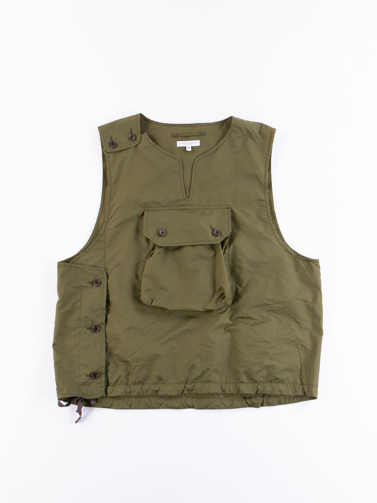 Olive Nylon Micro Ripstop Cover Vest - Image 1